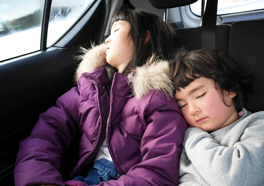 車の中で熟睡。おつかれさま。