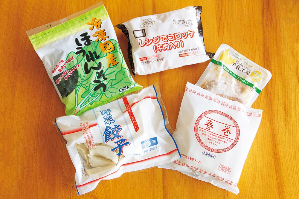 冷凍ほうれん草などの素材のほか、コロッケ、平田牧場の煮込みハンバーグ、春巻き、餃子などはいざという時のお助けメニュー