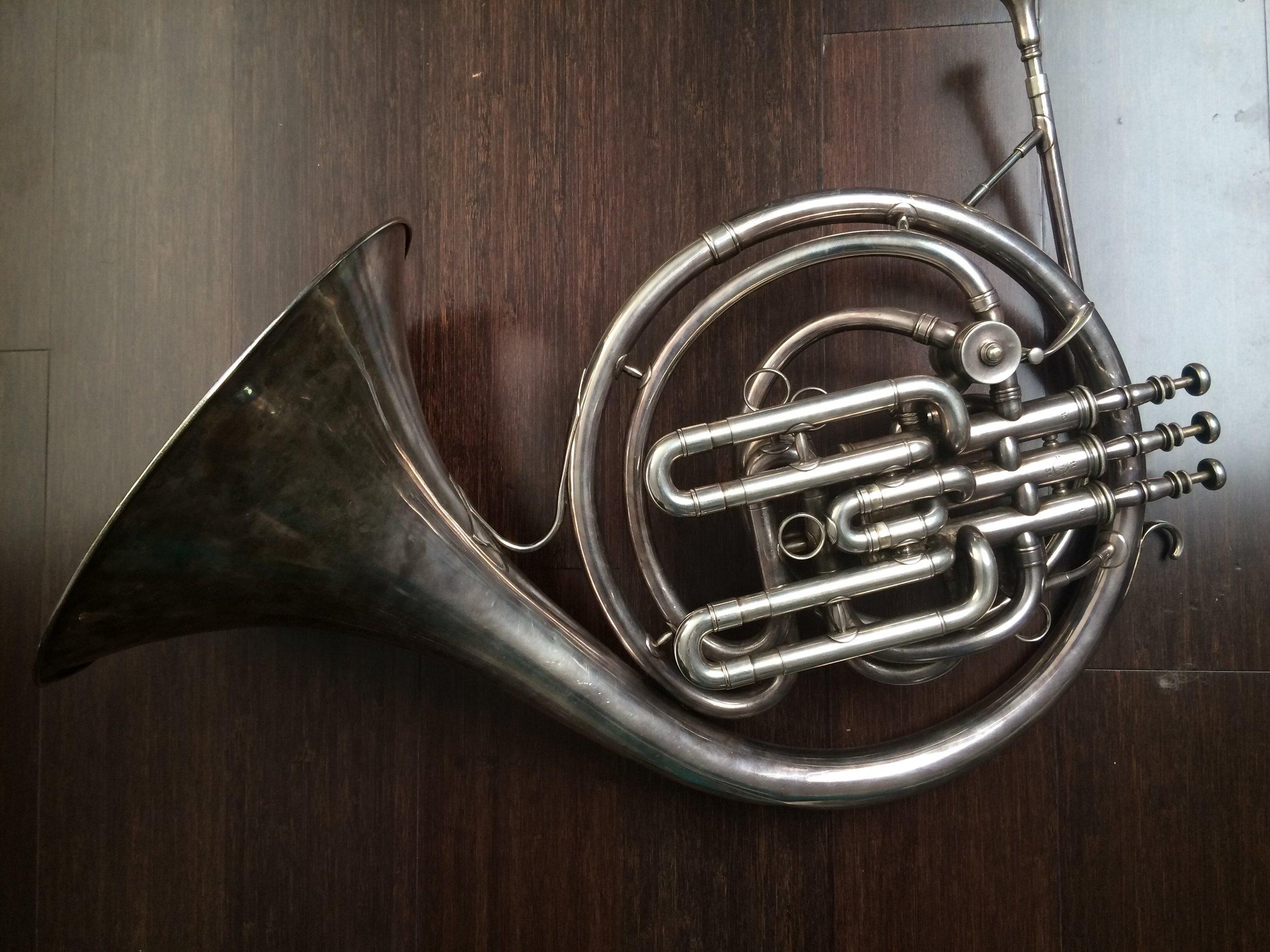 Henri Selmer  F/B flat piston valve horn ( cor ascendant    i.e. with ascending third valve ),  early 20th century.