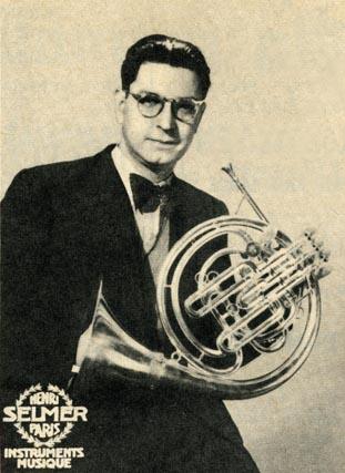 Cor solo (principal horn) of the Opéra Paris Lucien Thévet (1914–2007)in an 1955 advert for Henri Selmer