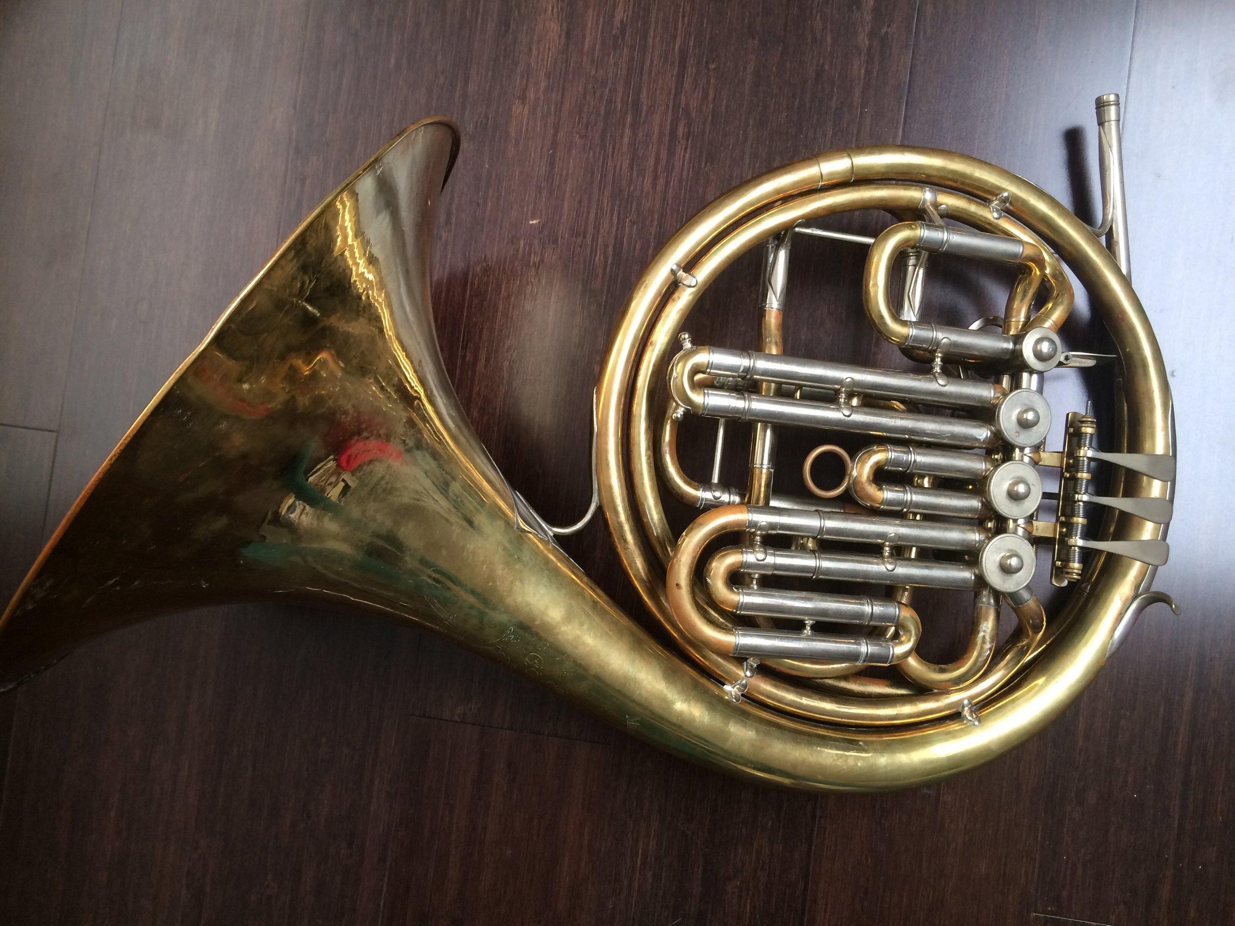 "Rotary horn:  Eduard Kruspe (Erfurt, 1831–1919) ""Gumbert"" Model compensating F/B flat rotary horn, early 20th century."