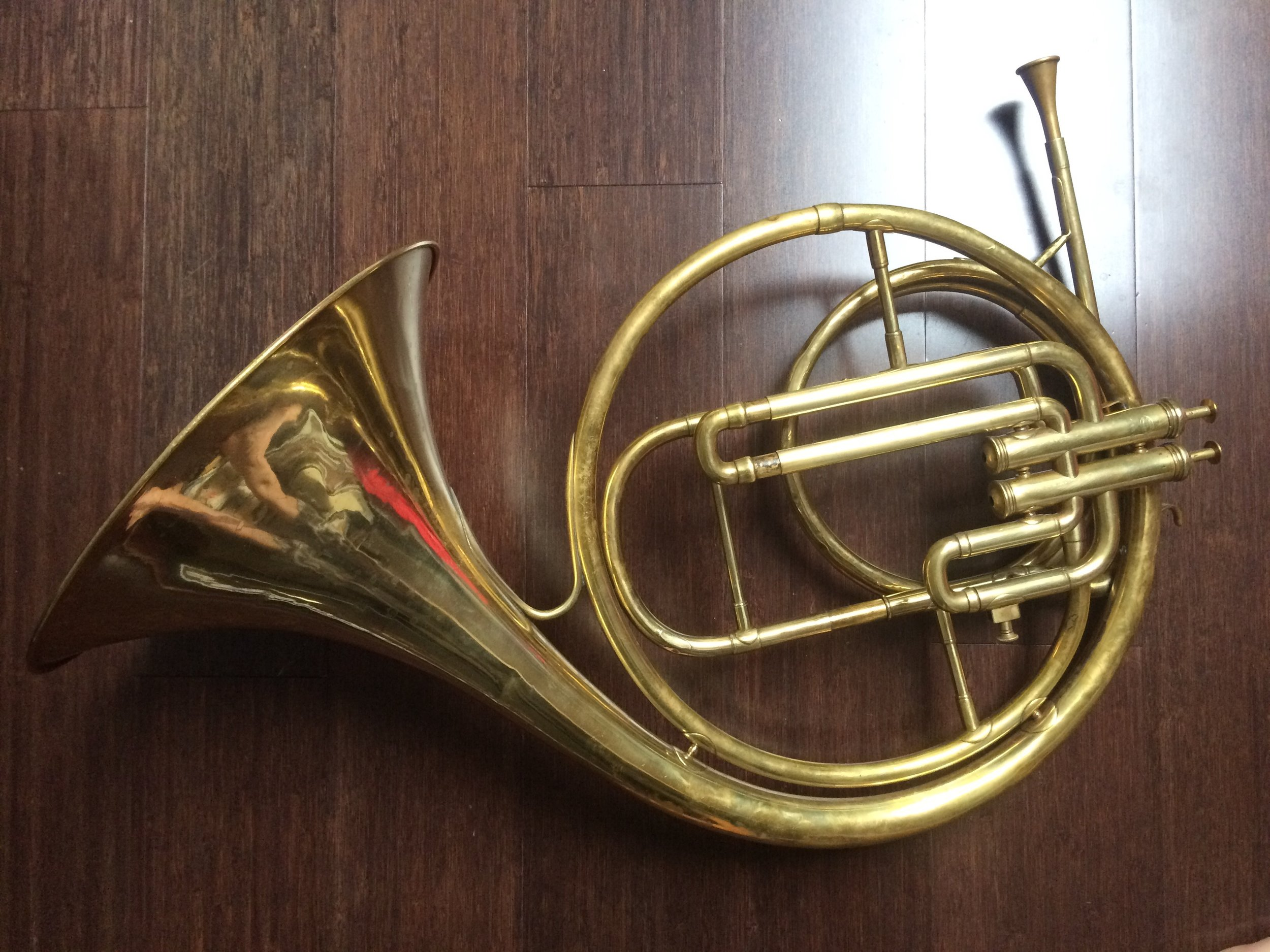 Piston horn : two valve instrument by Besson  (on loan from Chris Larkin).