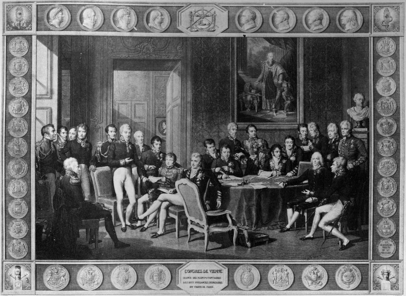 """""""Congress de Vienne"""" Anonymous engraver, after  Jean-Baptiste Isabey (1819)."""