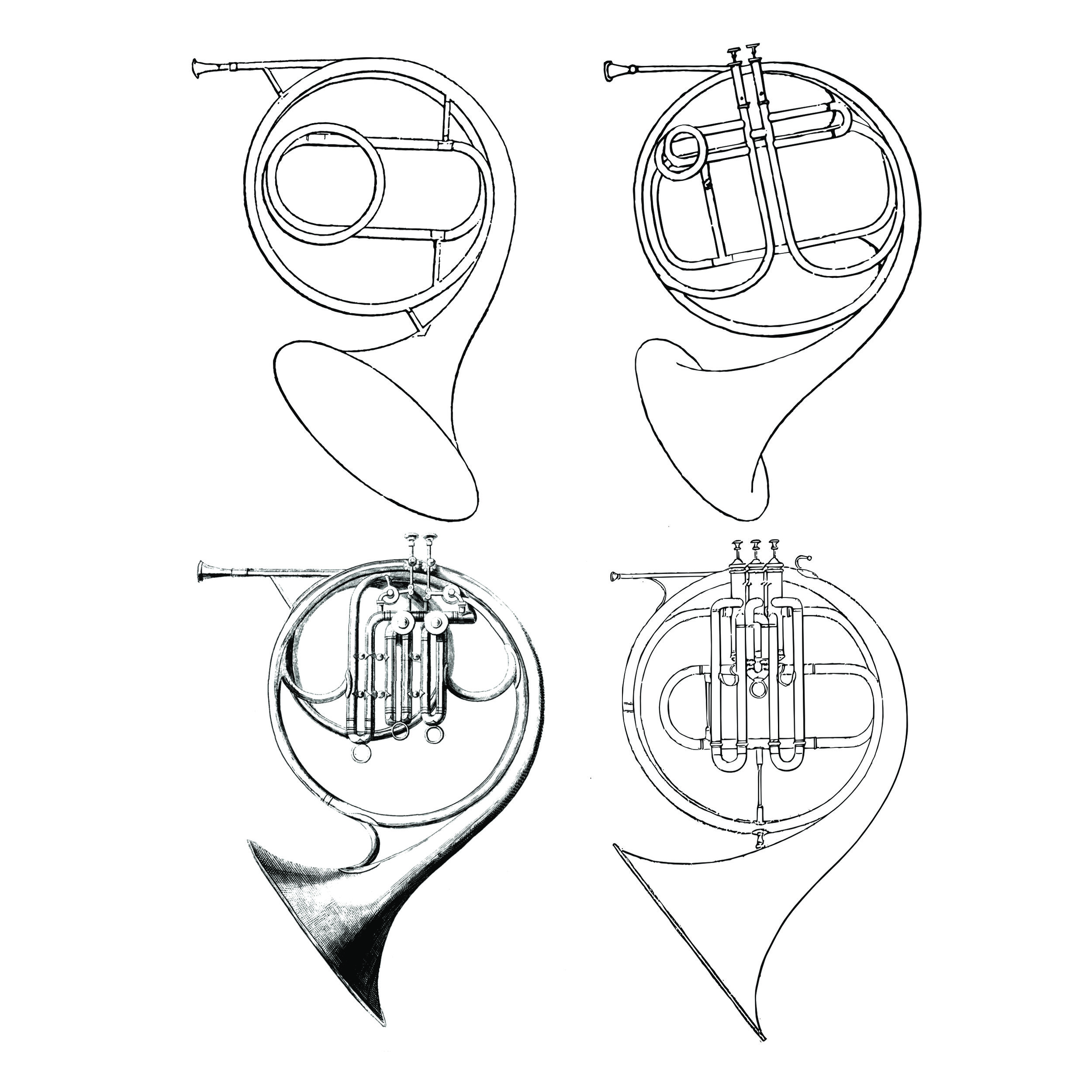 "Top left: Cor solo (Raoux) from Gallay's  Méthode , Top right: Two Stölzel-valved horn (Raoux) from Gounod's  Méthode   Bottom left: ""Cor Chromatique"" (Halary) from Meifred's  Méthode  (c.1840), Bottom right: ""Cor Chromatique"" (Halary) from Meifred's  Méthode  (2nd edition c.1849)."