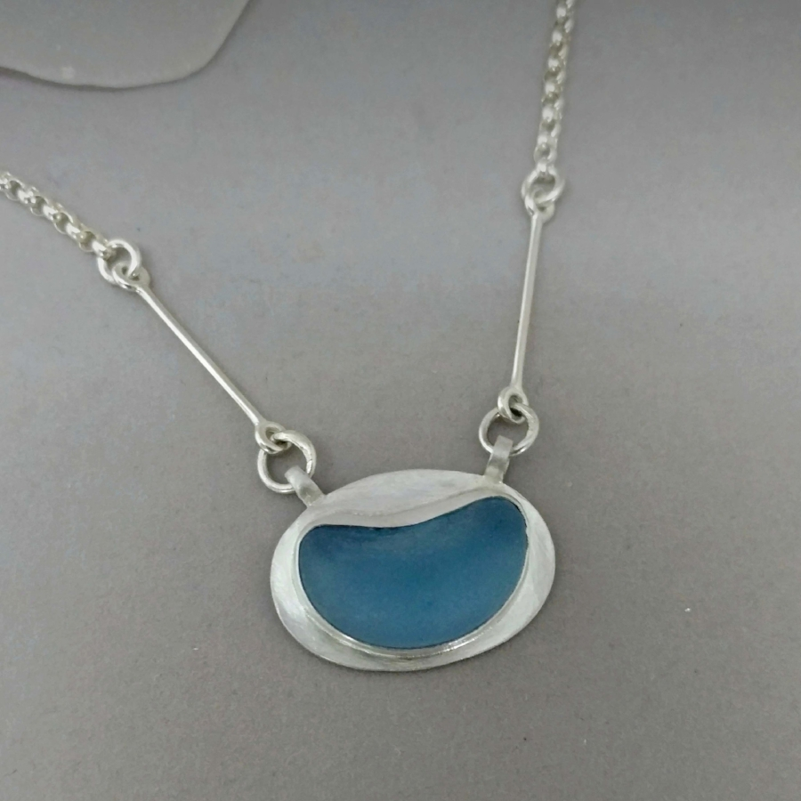 Sea Glass Necklace - Clients wanted to create a unique gift for a special occasion using their sea glass. Simple design let the sea glass shine!