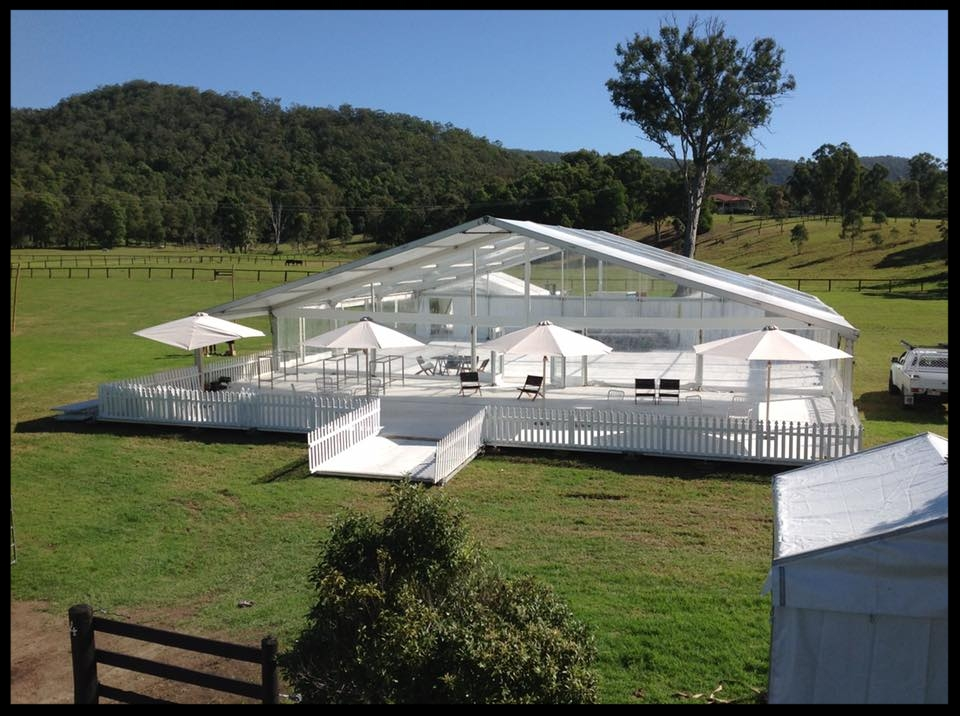 The Marquee   We offer a large range of Hocker structures in varying sizes. We stock clear and white marquees. Onsite visits to quote you on the best size for your event are complimentary!