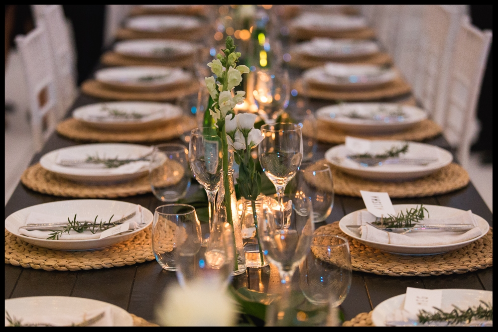 The Table Settings   We stock only the best quality glassware, cutlery and plates. Let our team advise you on what items would be best suited to the style of your table settings.