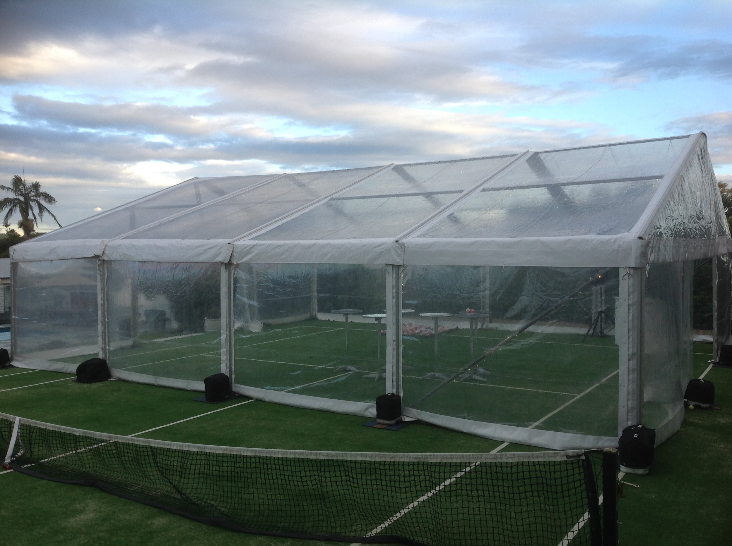 Clear marquee on Tennis Court