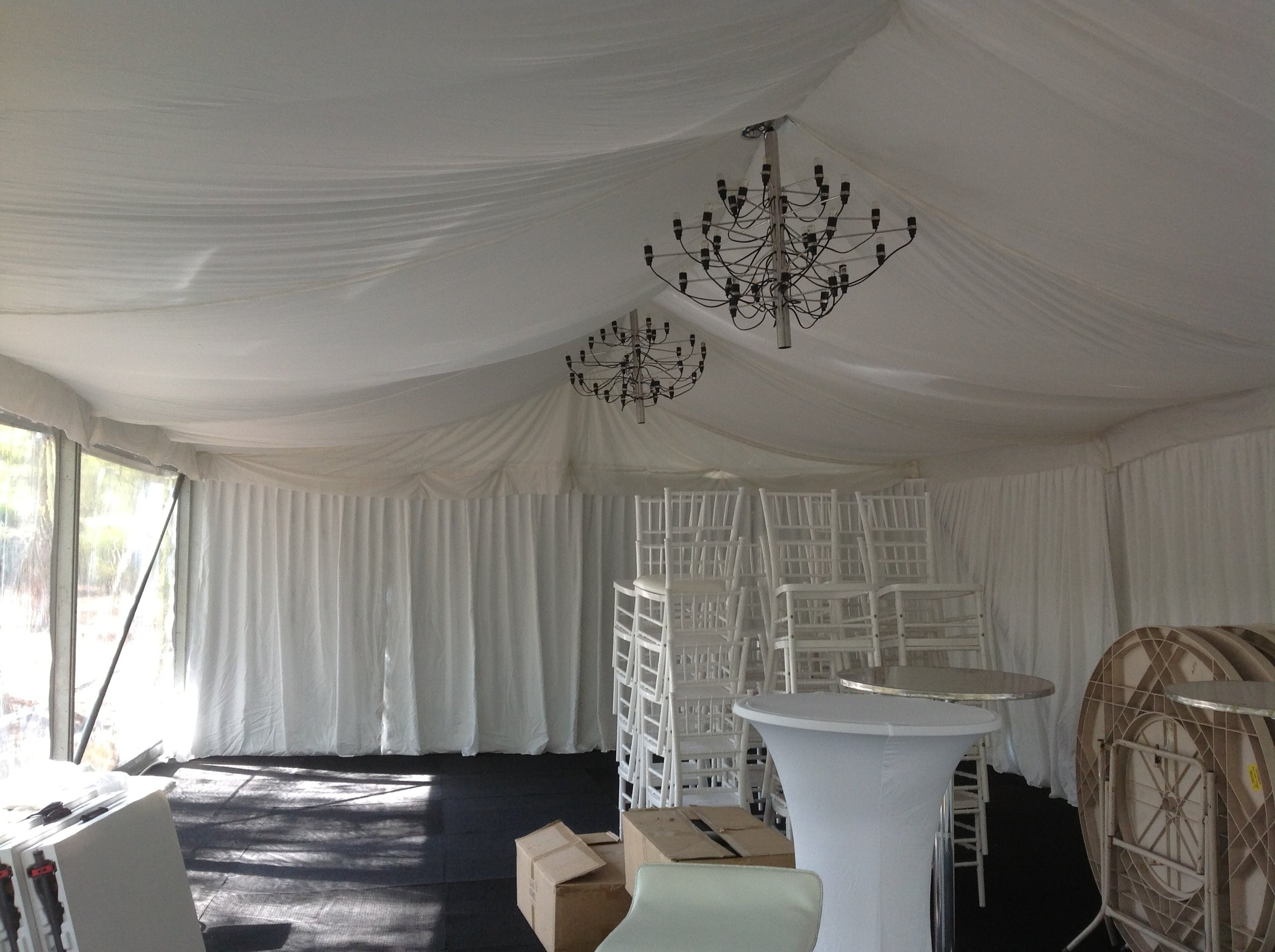 White marquee lining