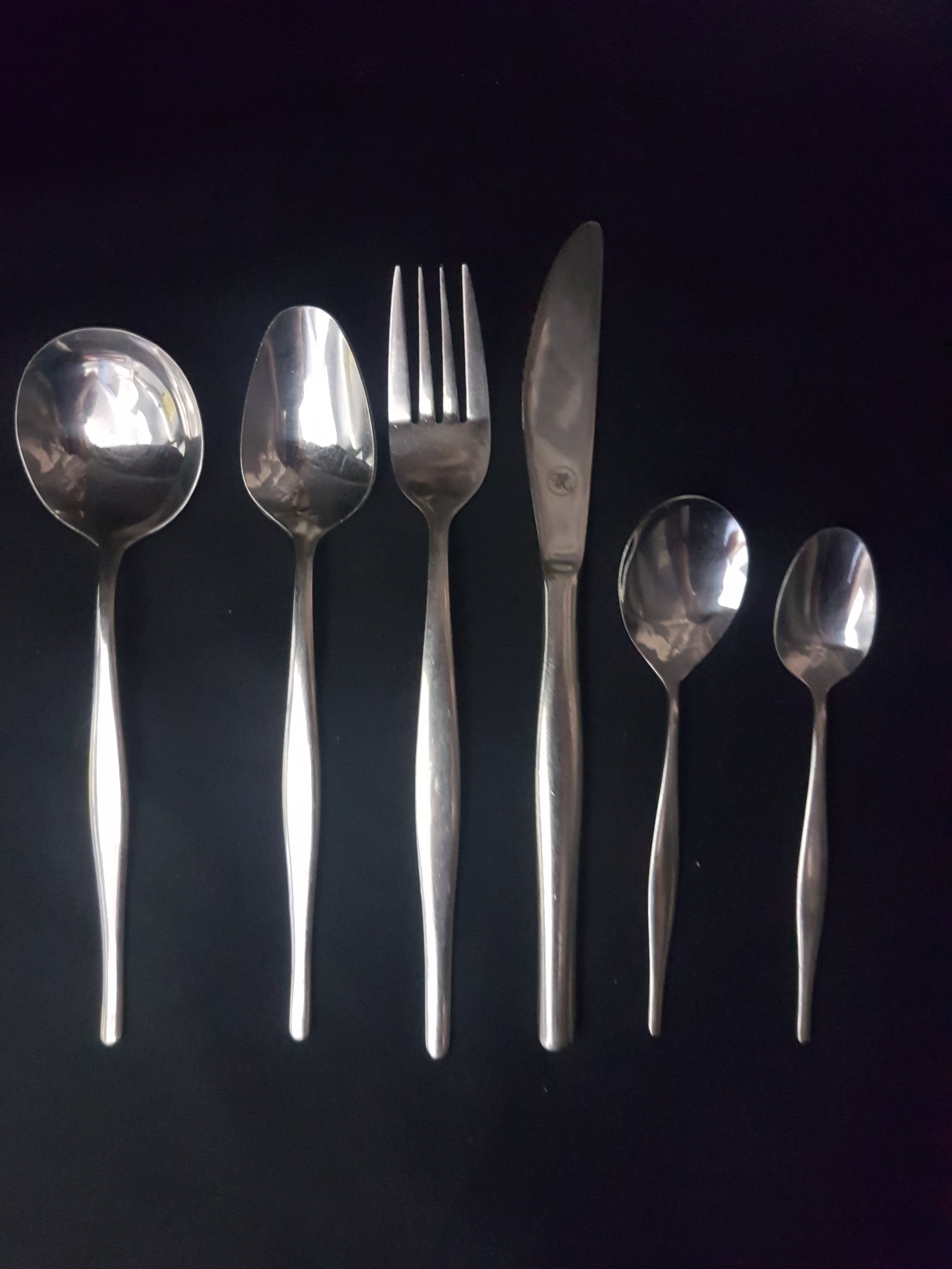 Stainless steel base range - This range used for large events we have surplus stock.Soup Spoon .44c eaDessert Spoon .44c eaDinner Fork .44c eaDinner Knife .44c eaFruit Spoon .44c eaTeaspoon .39c ea