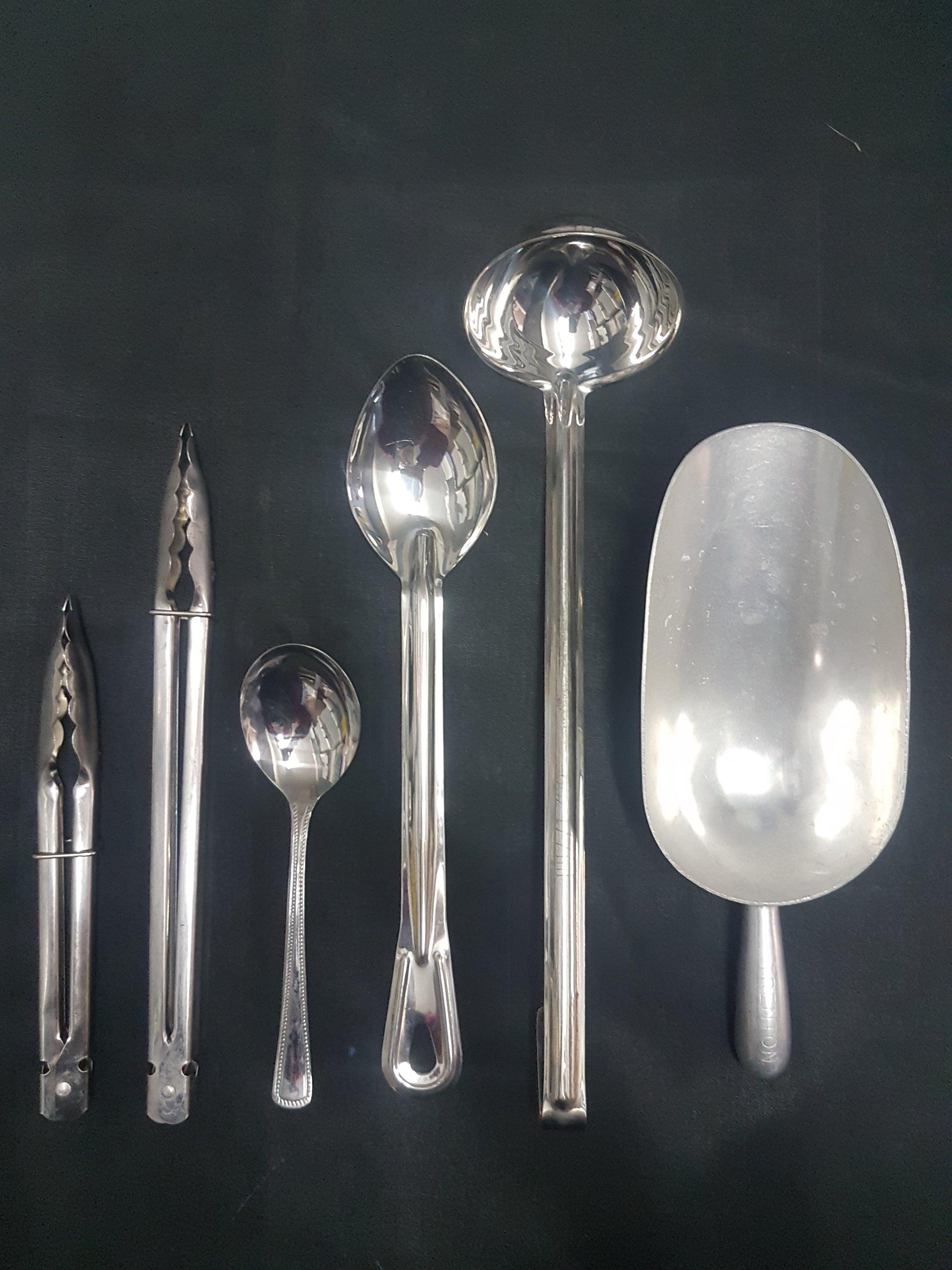 - Small Tongs $1.10 eaLarge Tongs $1.10 eaSmall Serving Spoon .99c eaLarge Serving Spoon .99c eaSilver Ladle $1.50 eaIce Scoop $1.10 ea