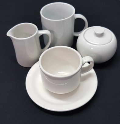 white china accessories - Cup and Saucer Set .77c eaMilk Jug 5oz .77c eaCoffee/Soup Mug .88c eaSugar Bowl with lid .88c ea