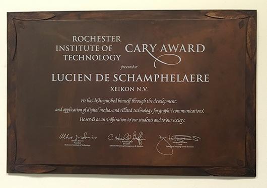 Cary Award - Lucien De Schamphelaere - Xeikon