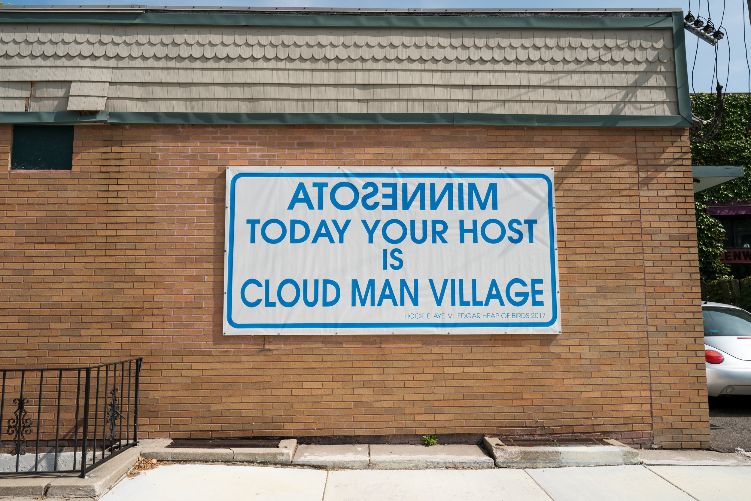 Minnesota Today Your Host Is Cloud Man Village by Edgar Heap of Birds at Bockley Gallery, MN
