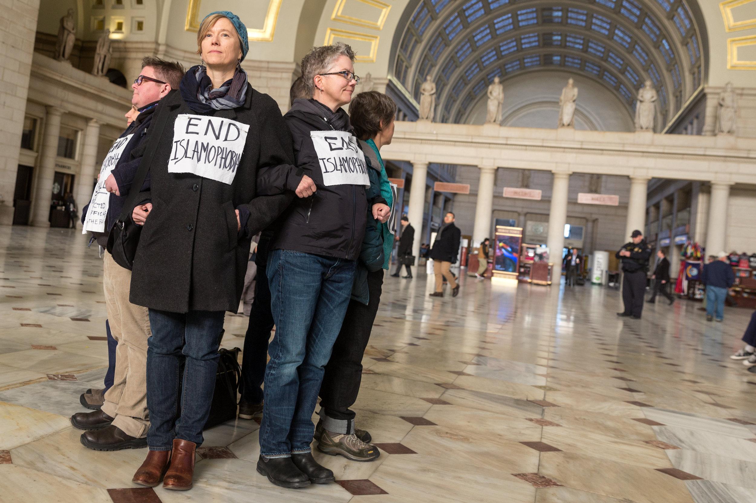 End Islamophobia, Silent Protest at Union Station, Washington DC