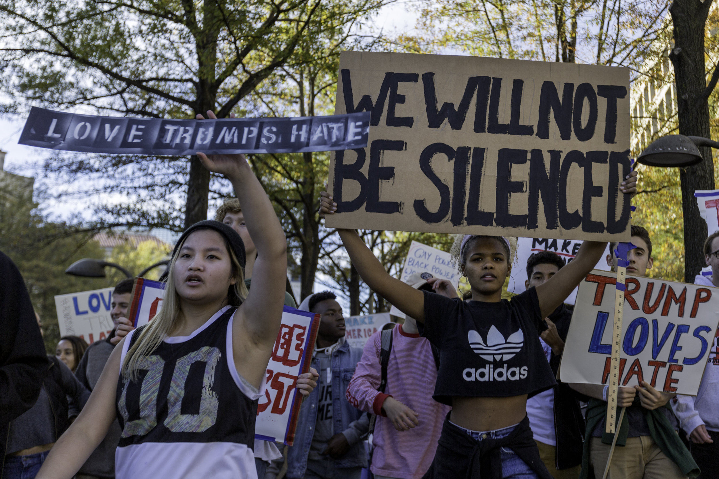 We Will Not Be Silenced, Protesters marching along Pennsylvania Ave to the Capitol, DC