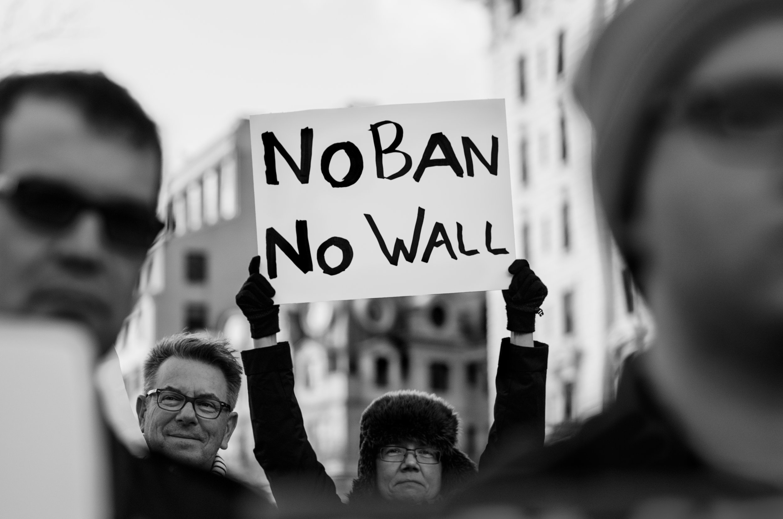 "Rally against Trump's ""Muslim Ban"" policies sponsored by Freedom Muslim American Women's Policy"