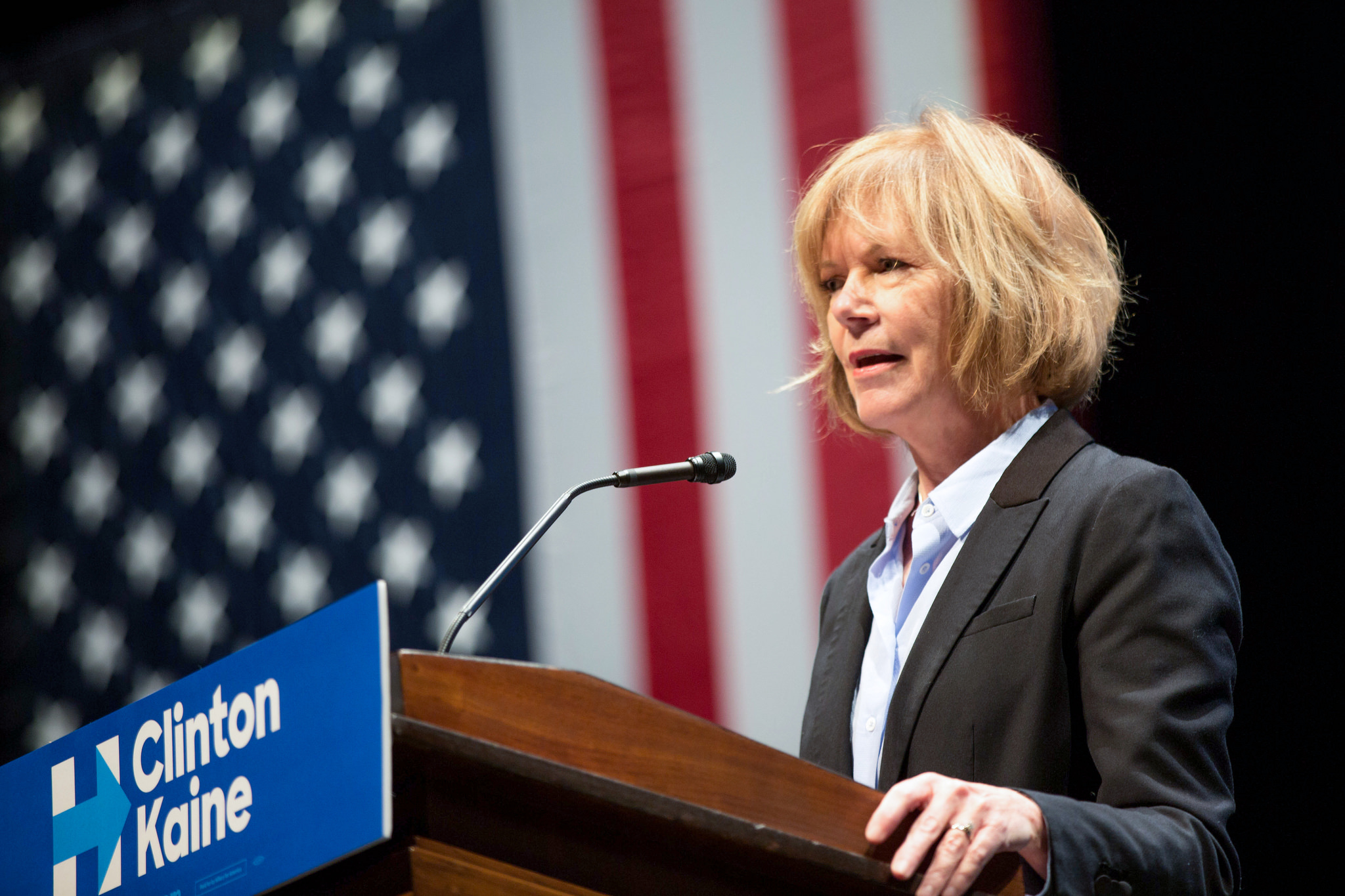 Tina Smith, Minnesota Lieutenant Governor speaking at a Clinton Campaign event in Minneapolis, October 2016