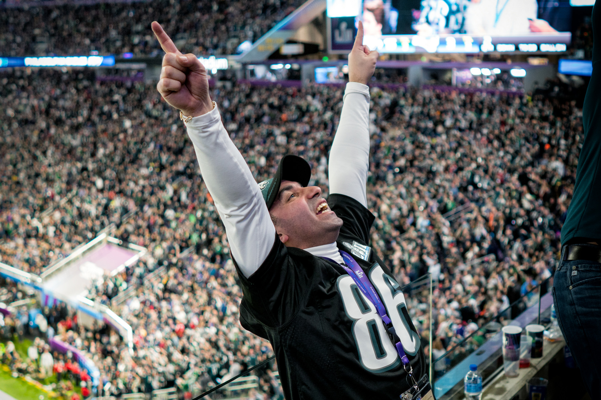 An Eagles fan celebrates in the stands at Super Bowl LII, Minneapolis MN