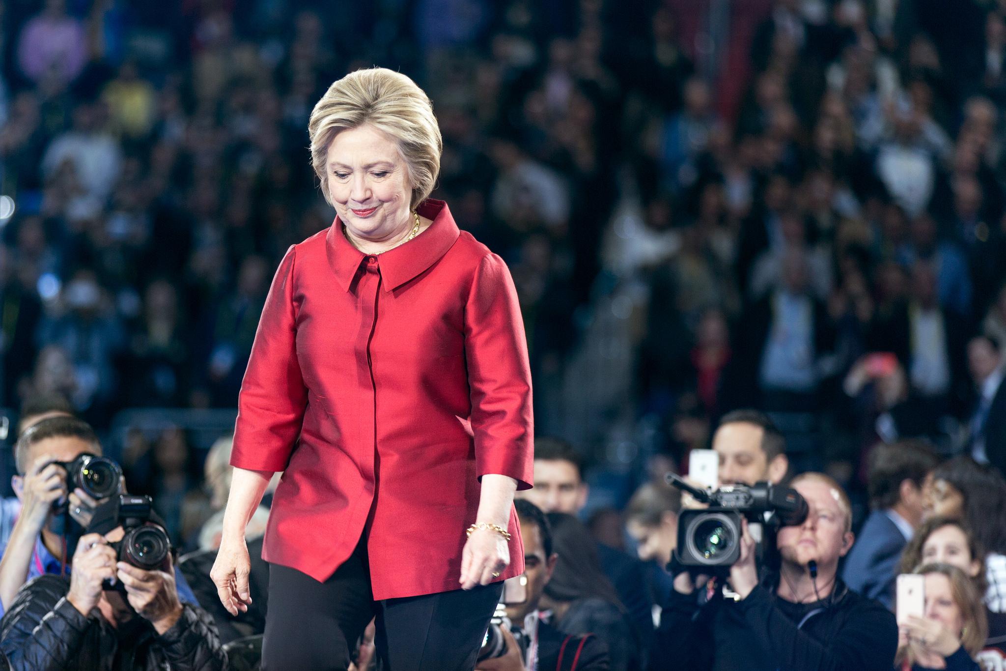 Hillary Clinton walks on stage at AIPAC, Washington DC