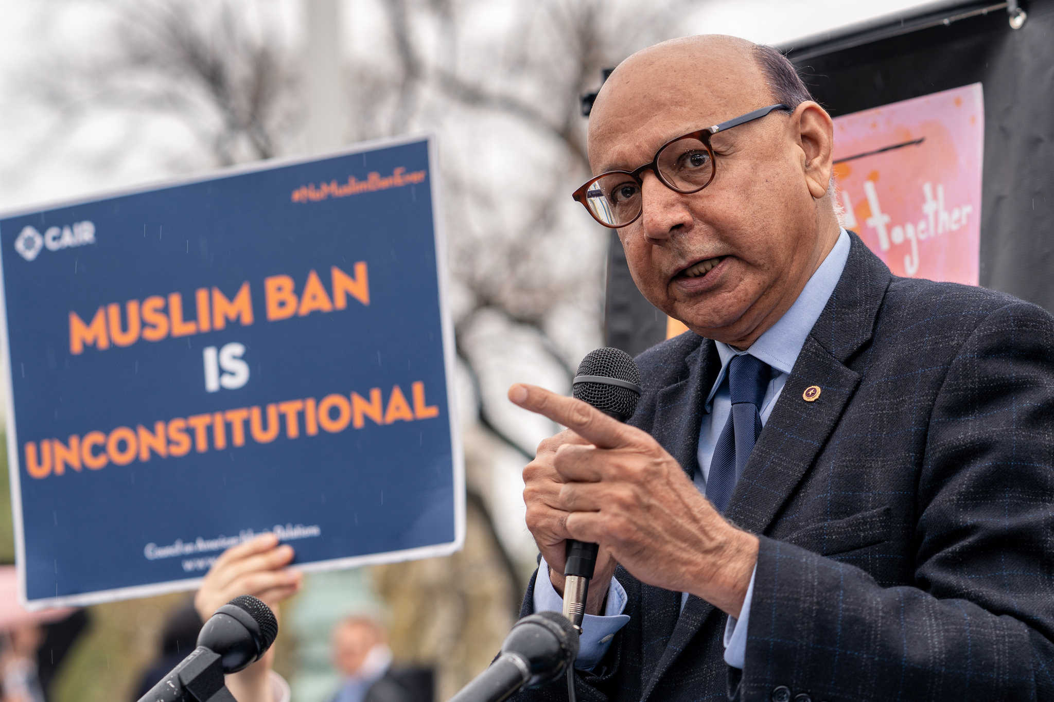 Khizr Khan speaking at the Supreme Court after oral arguments on Trump's latest Muslim Ban