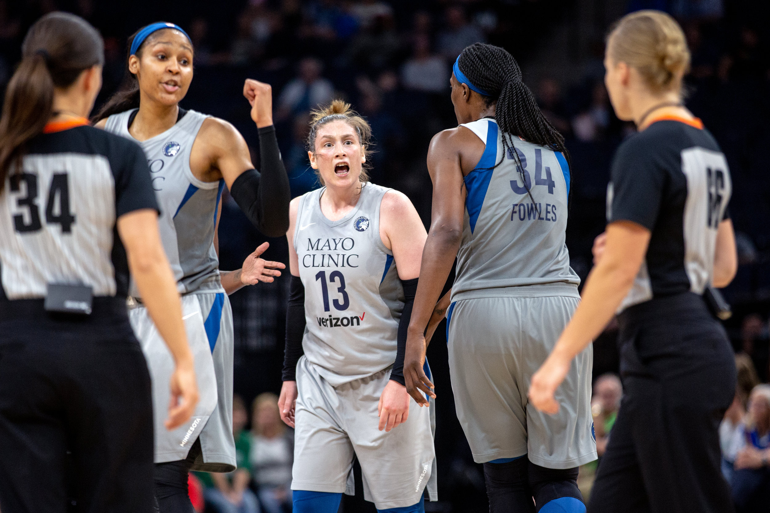 Lindsay Whalen reacts to being charged with a technical foul call in the Minnesota Lynx vs Dallas Wings game at Target Center.