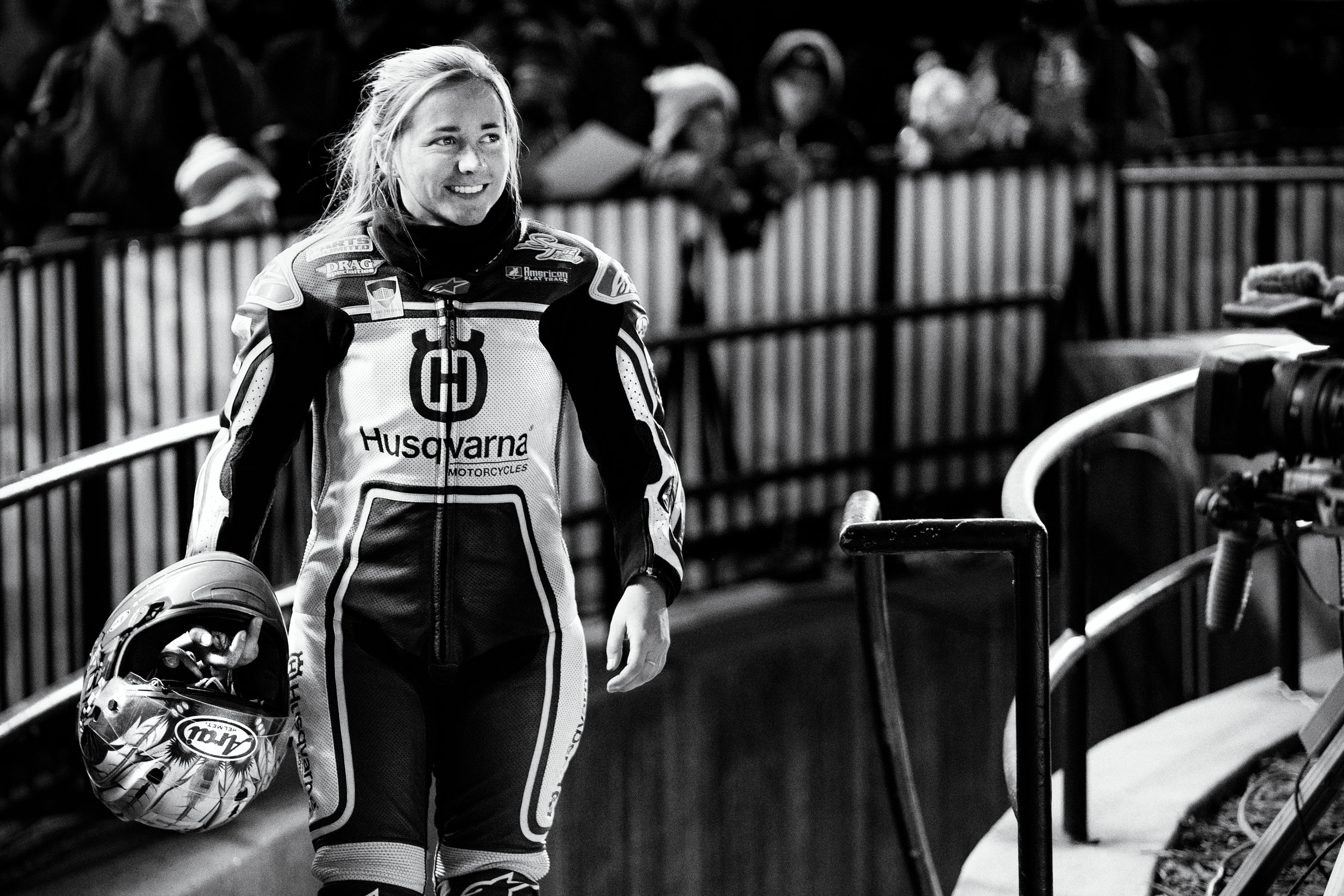 American Flat Track racer, Shayna Texter enters the track to race in the Minnesota Mile at Canterbury Park, Shakopee MN