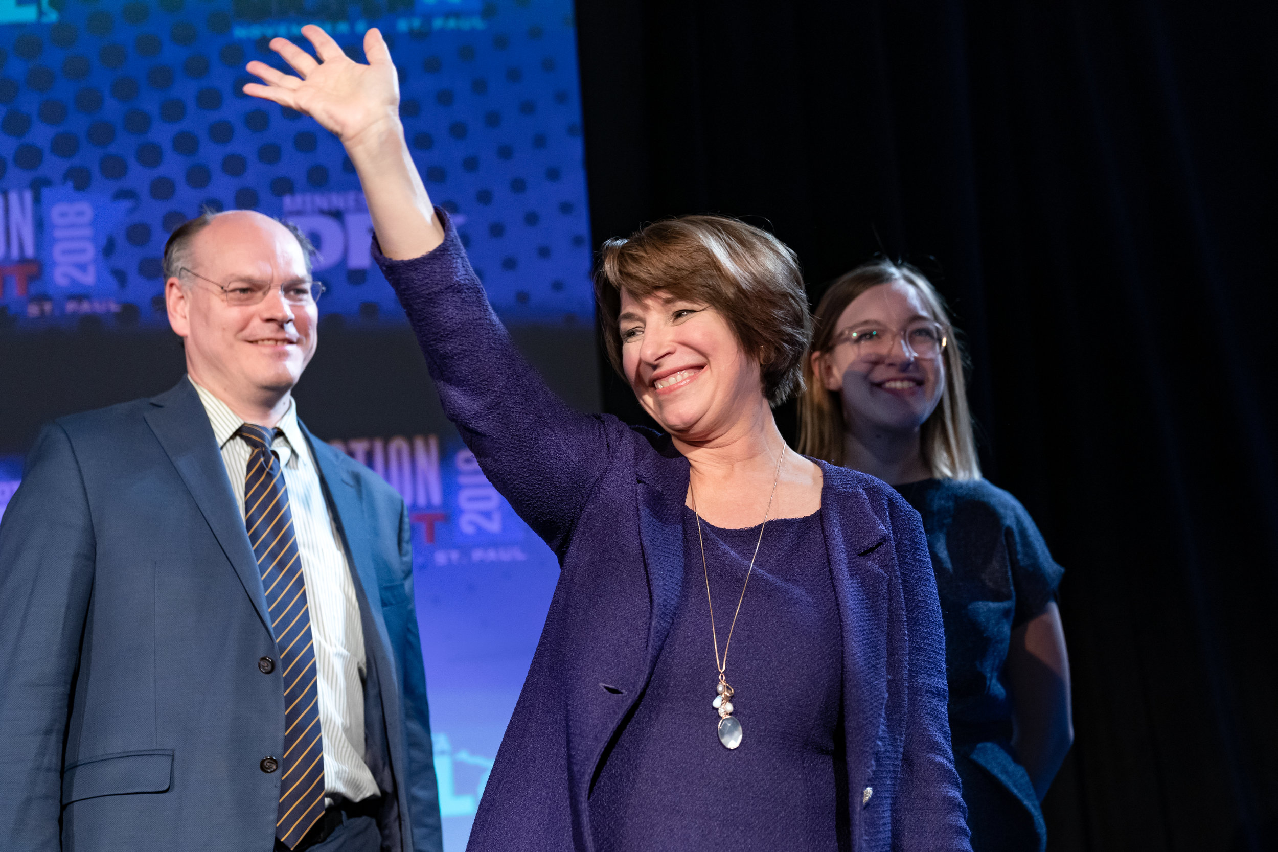 Amy Klobuchar waves to the crowd at the Minnesota DFL election night party in St Paul, MN