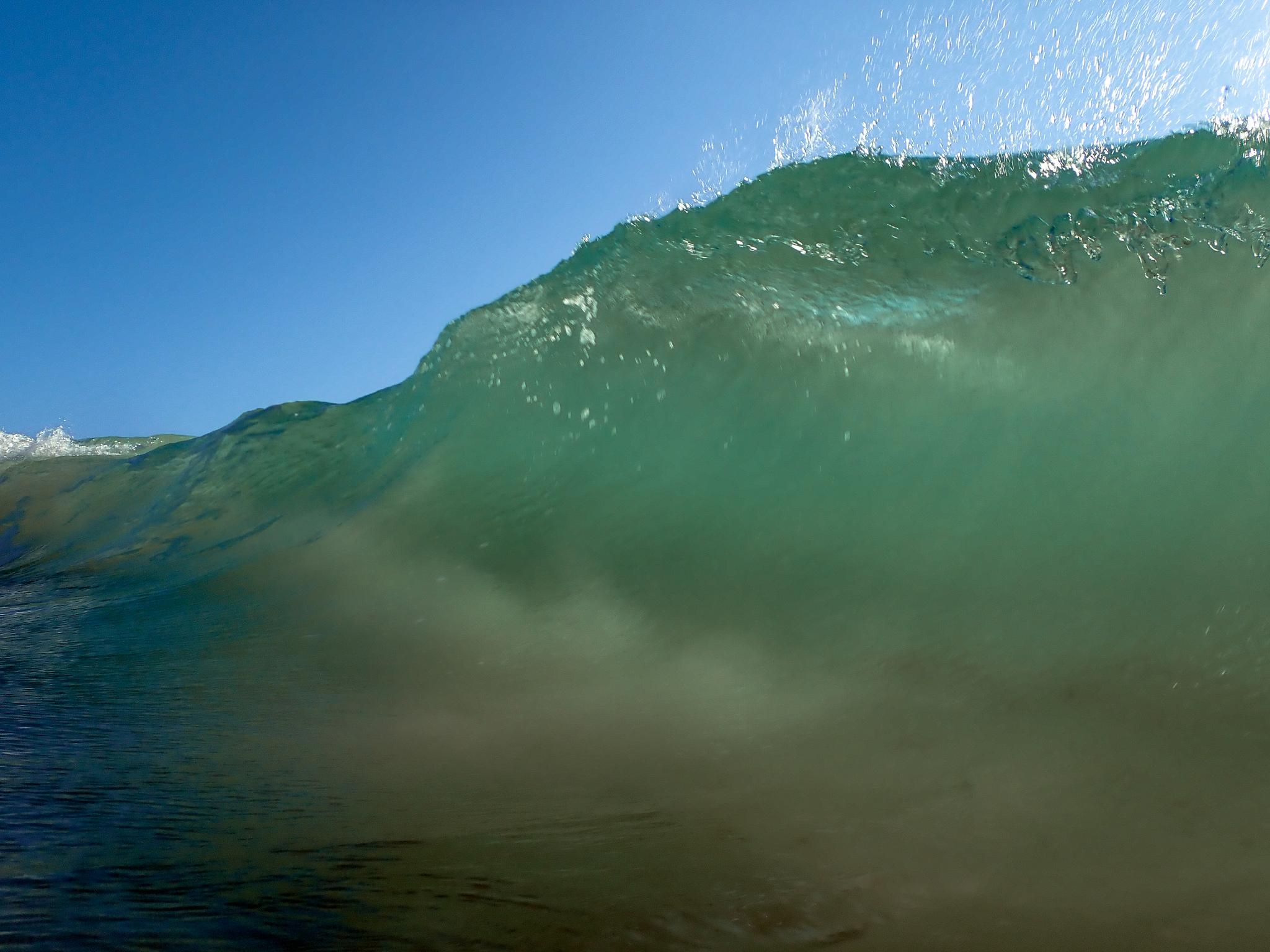 A wave at Tulum Beach, Mexico