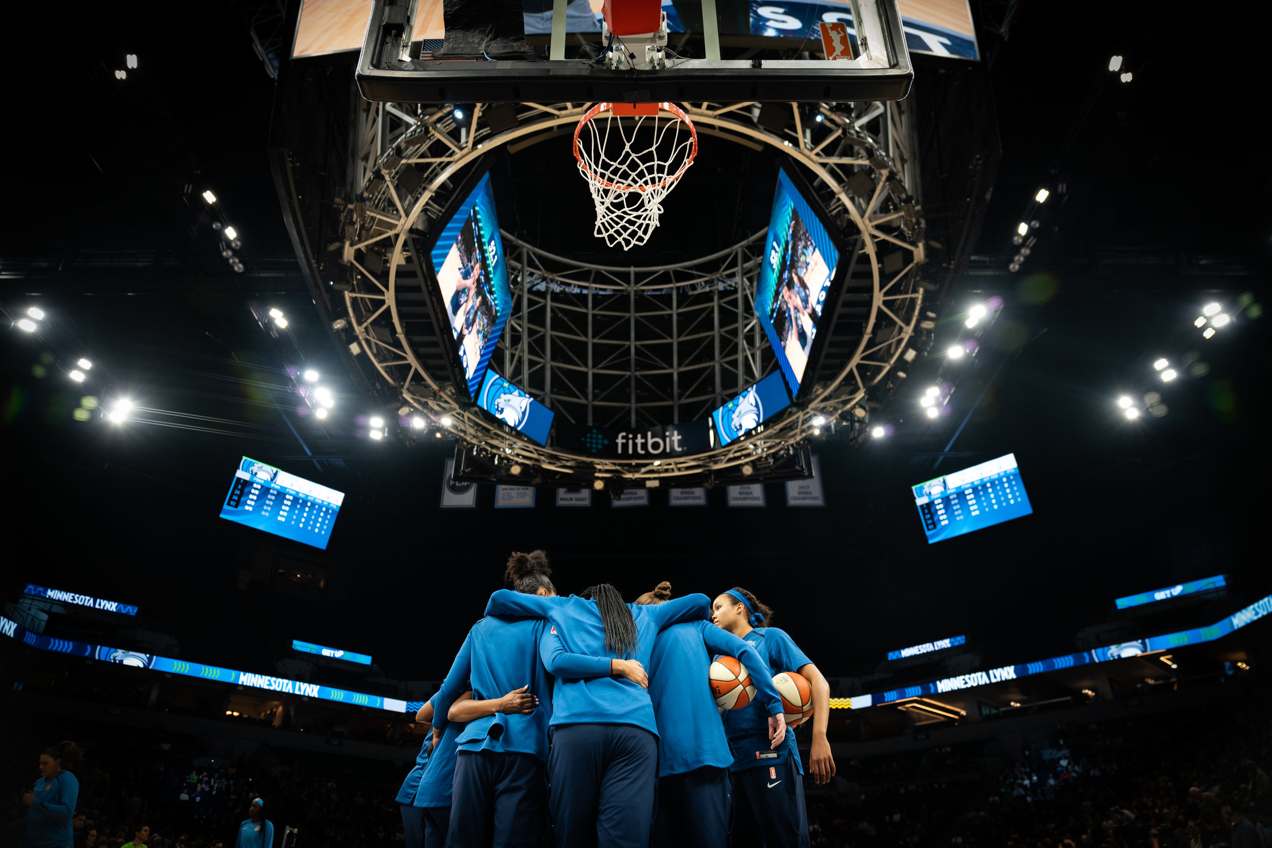 The Minnesota Lynx huddle before a game against the Chicago Sky