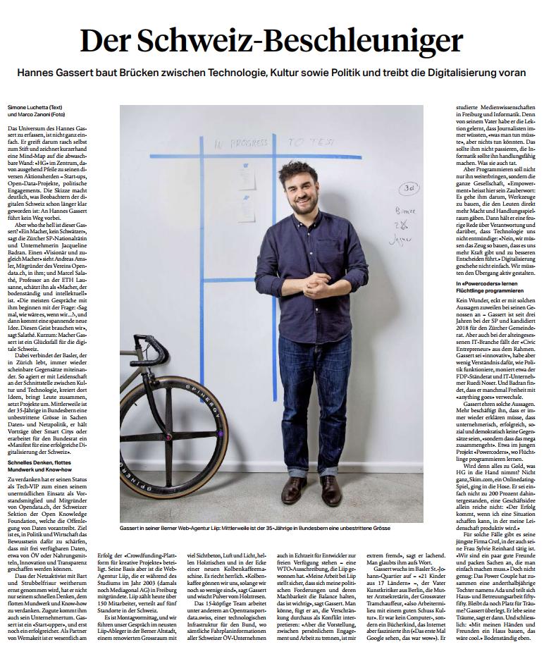Portrait SonntagsZeitung, 2.April 2017