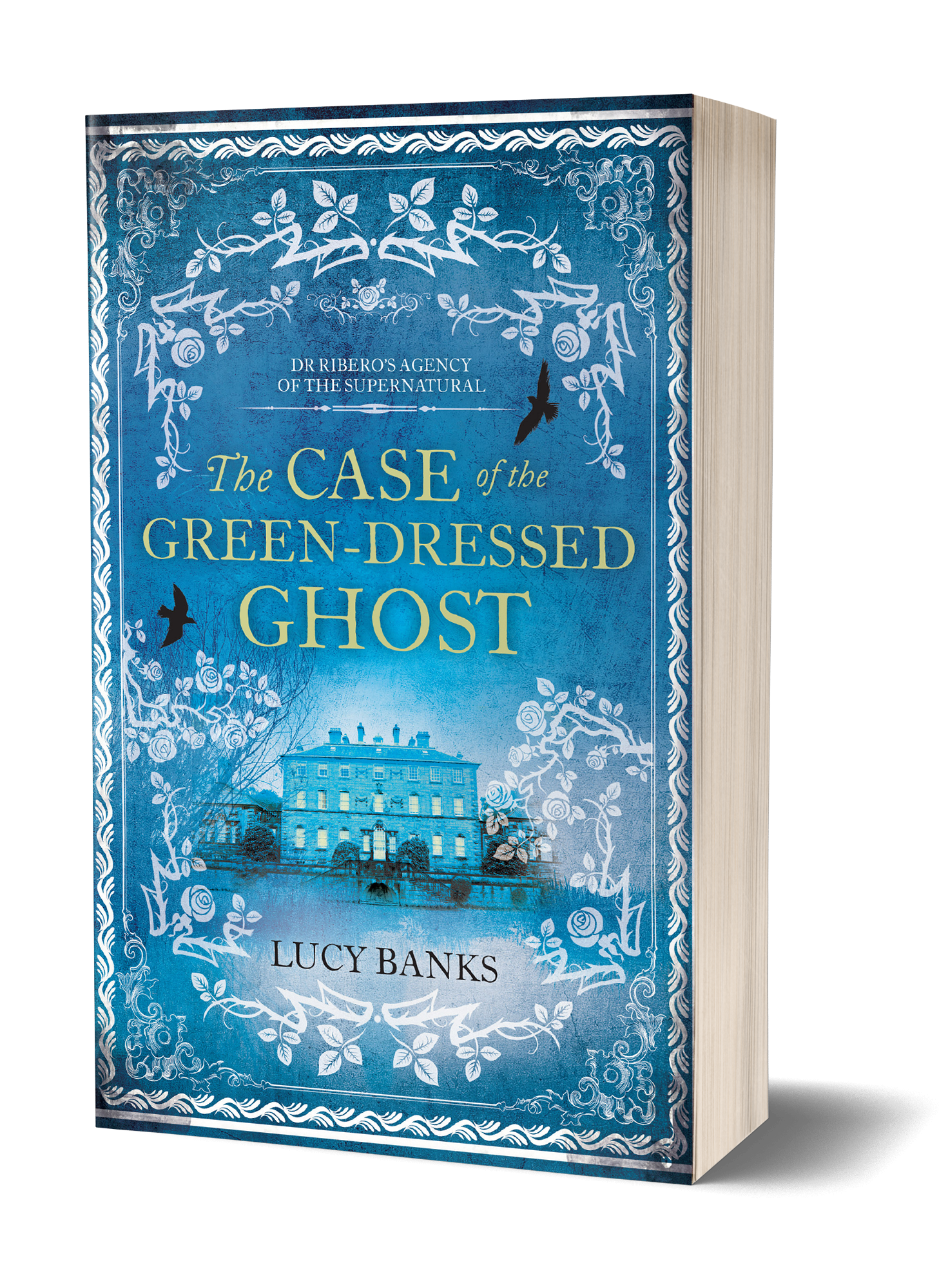 The Case of the Green Dressed Ghost book cover, blue background, large, old, abandoned manor, birds flying