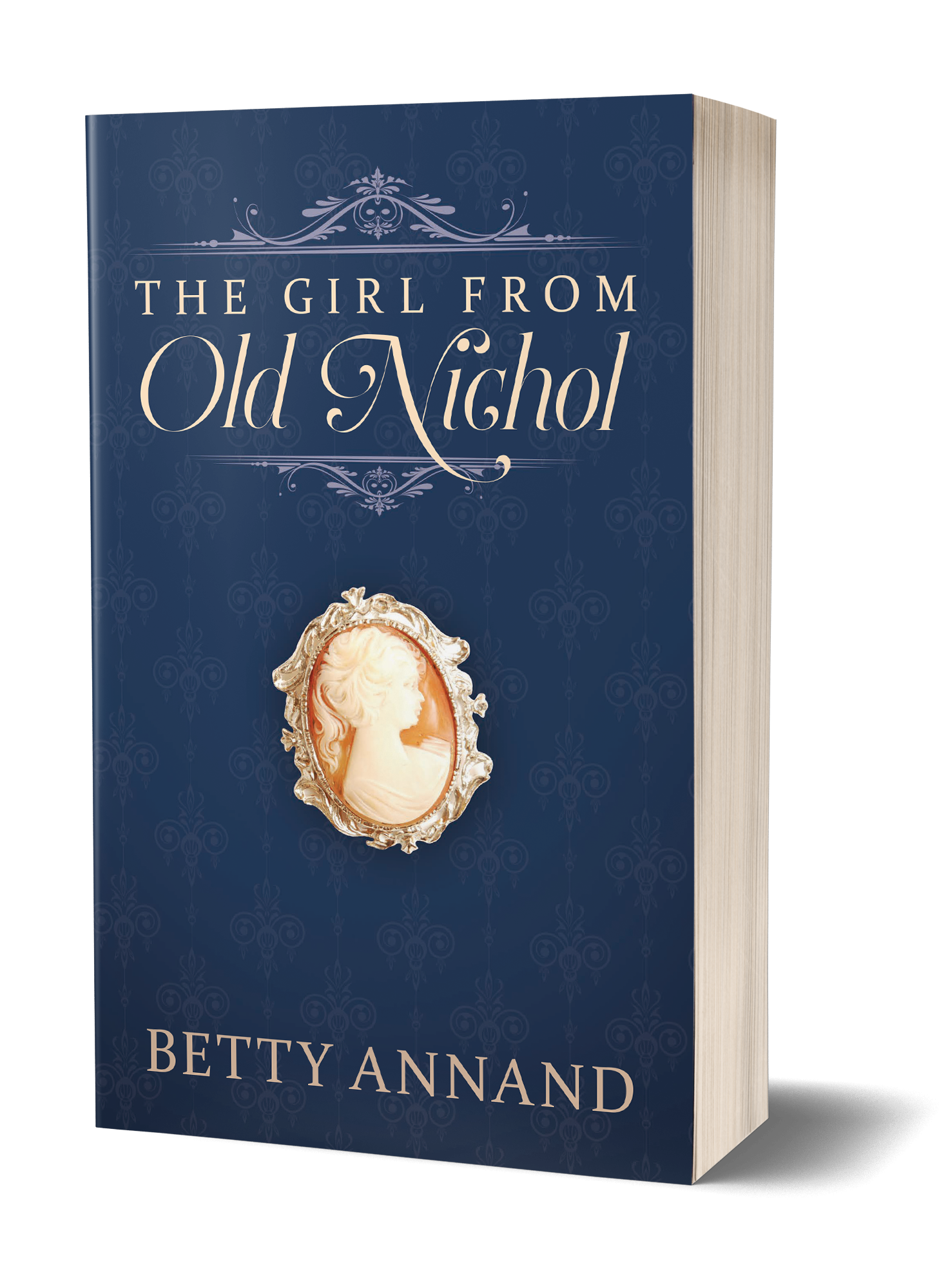 The Girl from Old Nichol book cover, blue background with a woman's brooch on the front
