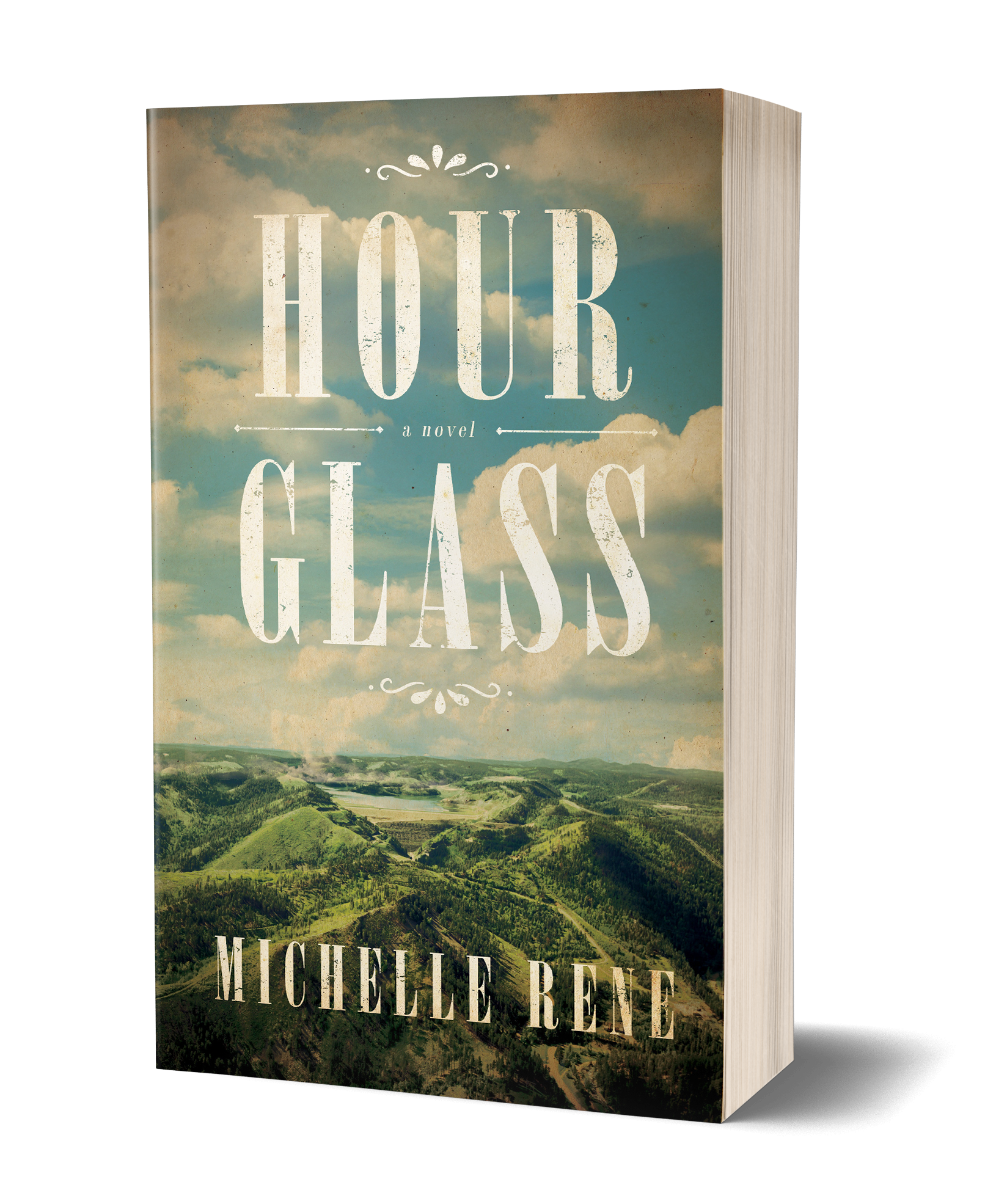 Hour Glass book cover, green hills and meadows, blue sky and clouds