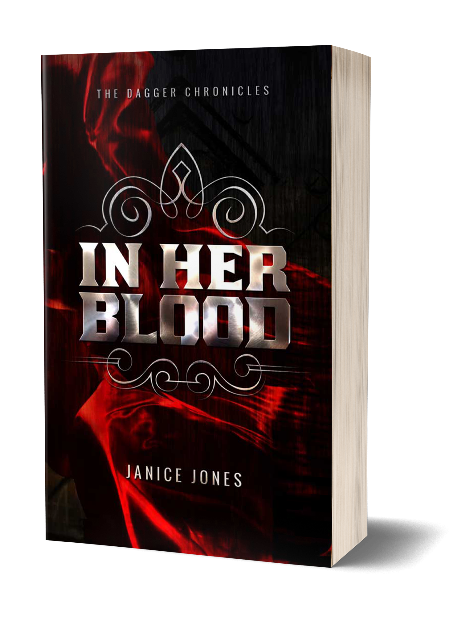 In Her Blood book cover, red designs over black background, white writing