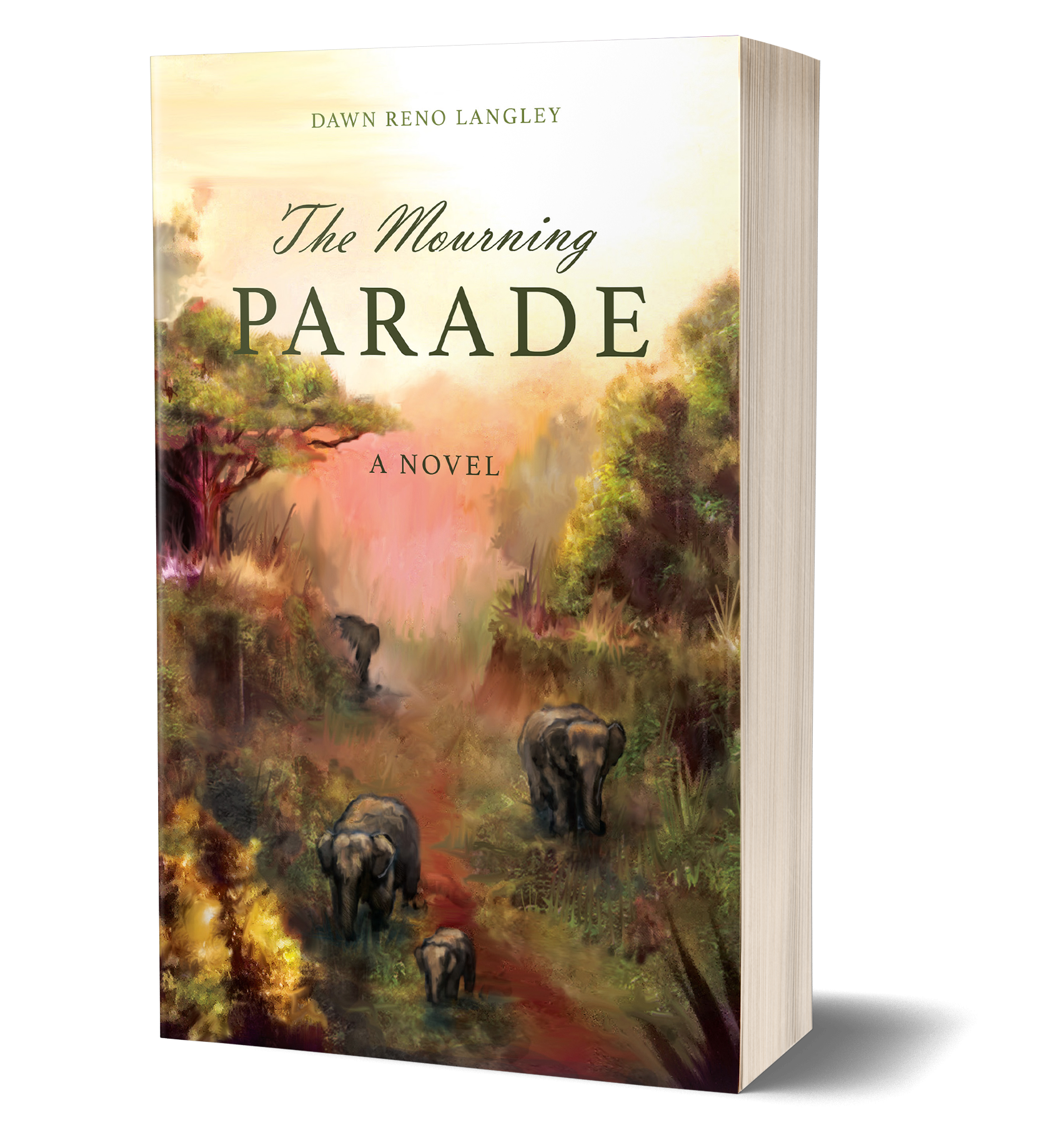 The Mourning Parade book cover, water color cover, elephants, trees, walking along path