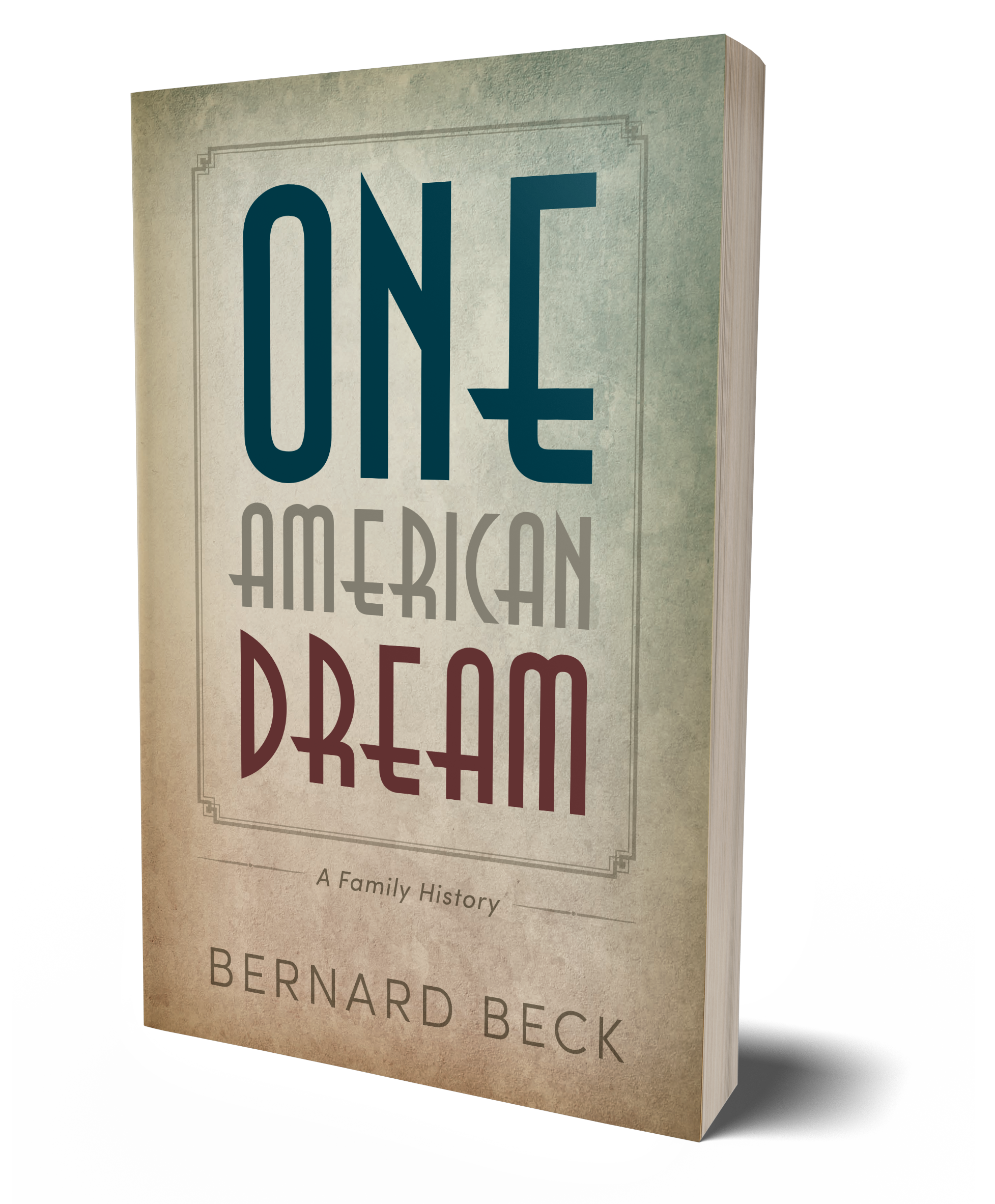 One American Dream book cover, words written in square, red, white and blue