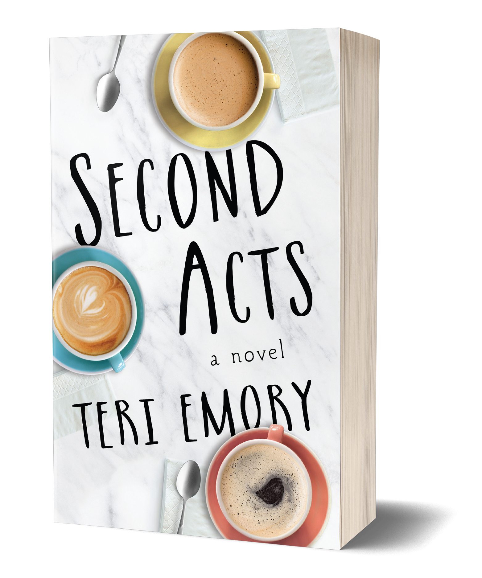 Second Acts book cover, Marble counter top, three different colored mugs of tea or coffee with spoons and napkins