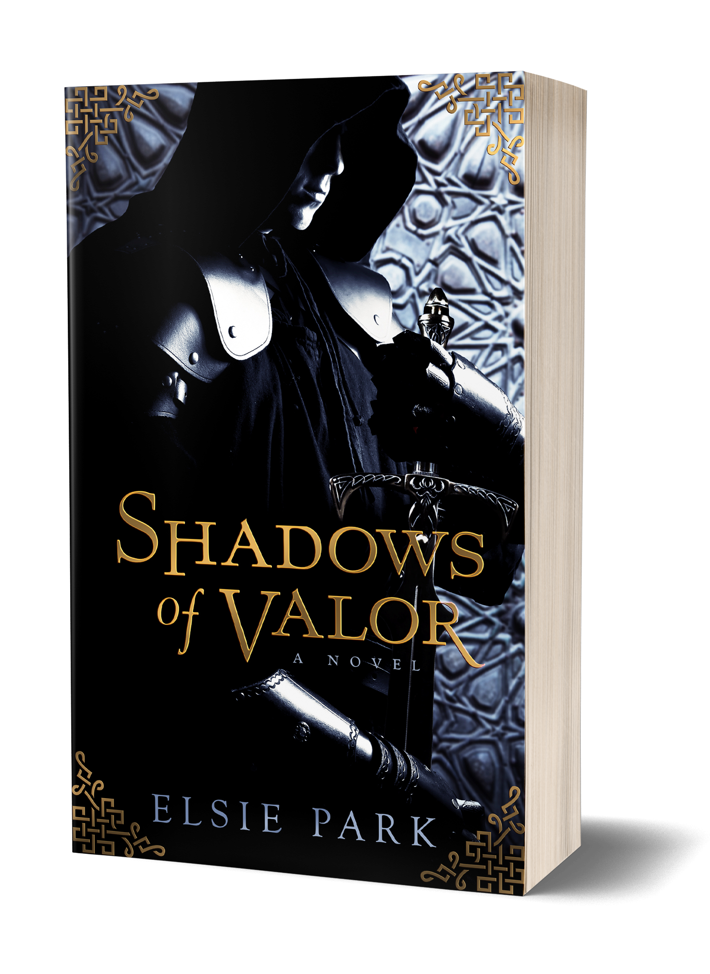 SHADOWS OF VALOR BOOK COVER, MAN SHROUDED IN SHADOWS, IN CLOAK