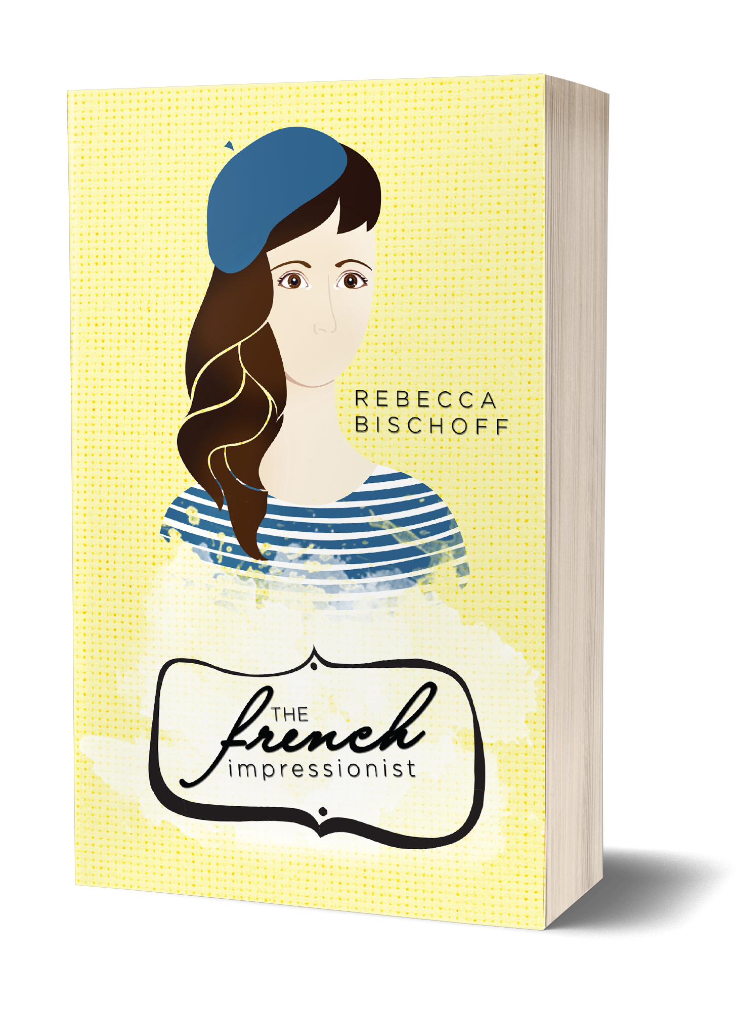 The French Impressionist book cover, yellow background, drawing of a girl with no mouth, in a blue beret and blue striped shirt