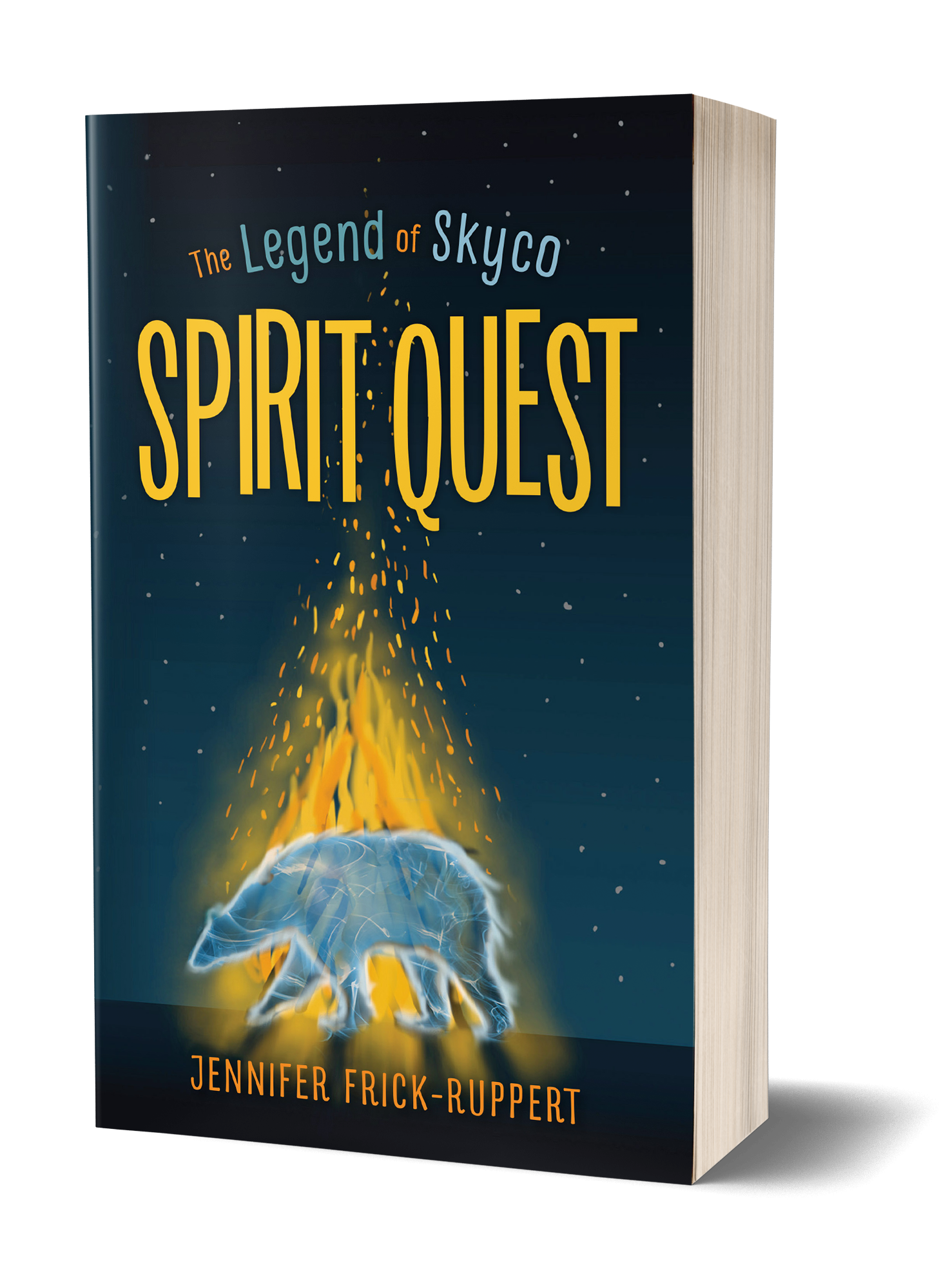 The Legend of Skyco: Spirit Quest book cover, spirit bear, walking around large fire, night time,