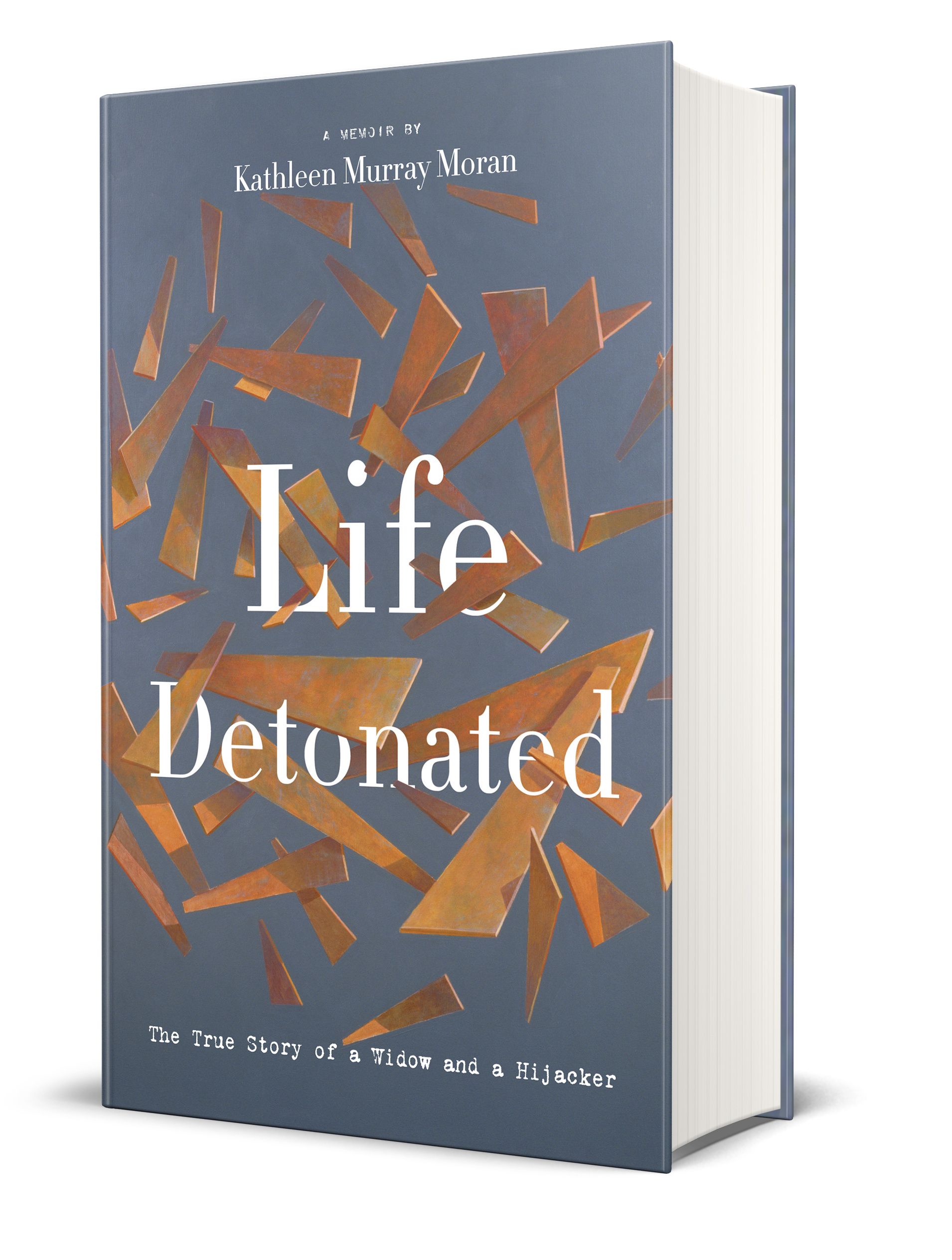 Life Detonated book cover, shards and pieces of wood in various sizes being thrown around the cover