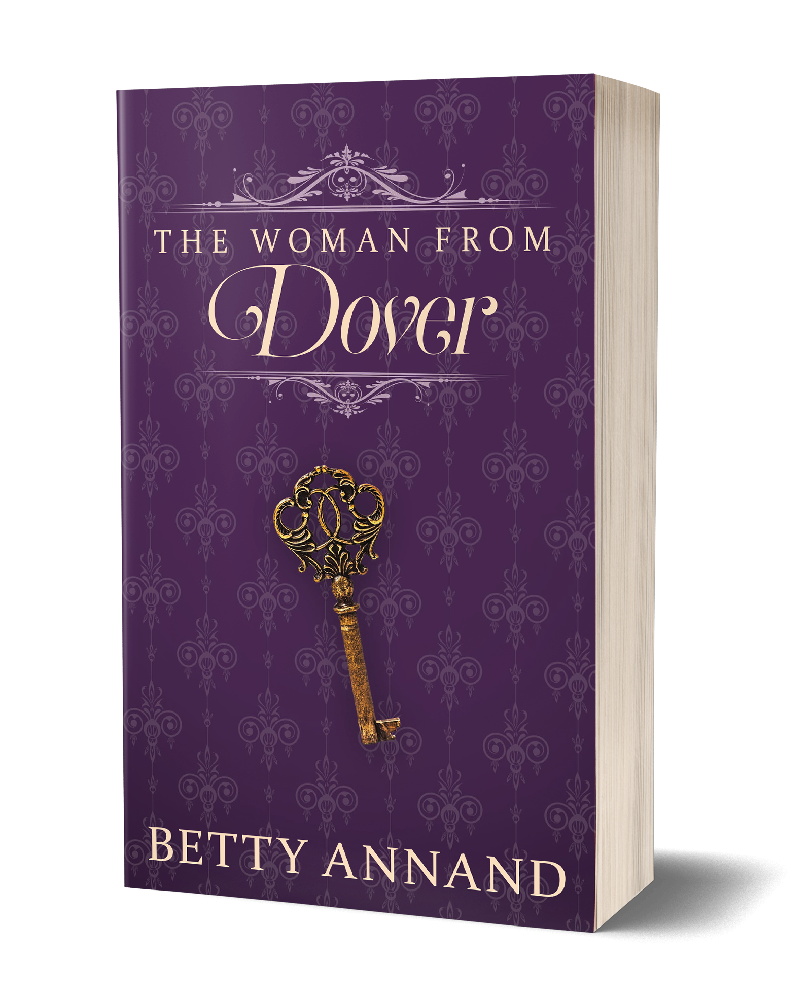 The Woman from Dover book cover, purple background with an old key
