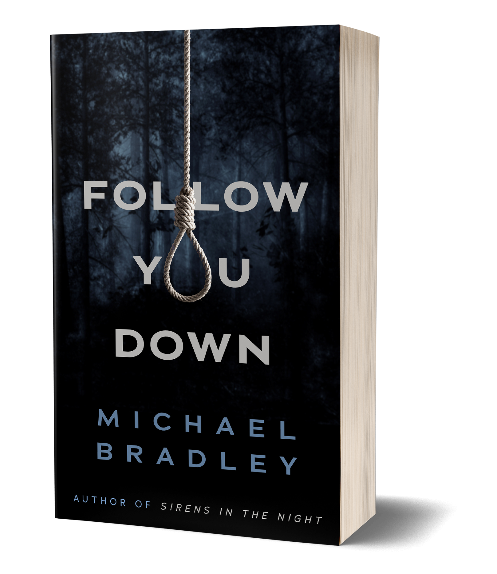 Follow You Down book cover, Rope hanging from top of page, tied in noose with dark trees and forest in the background