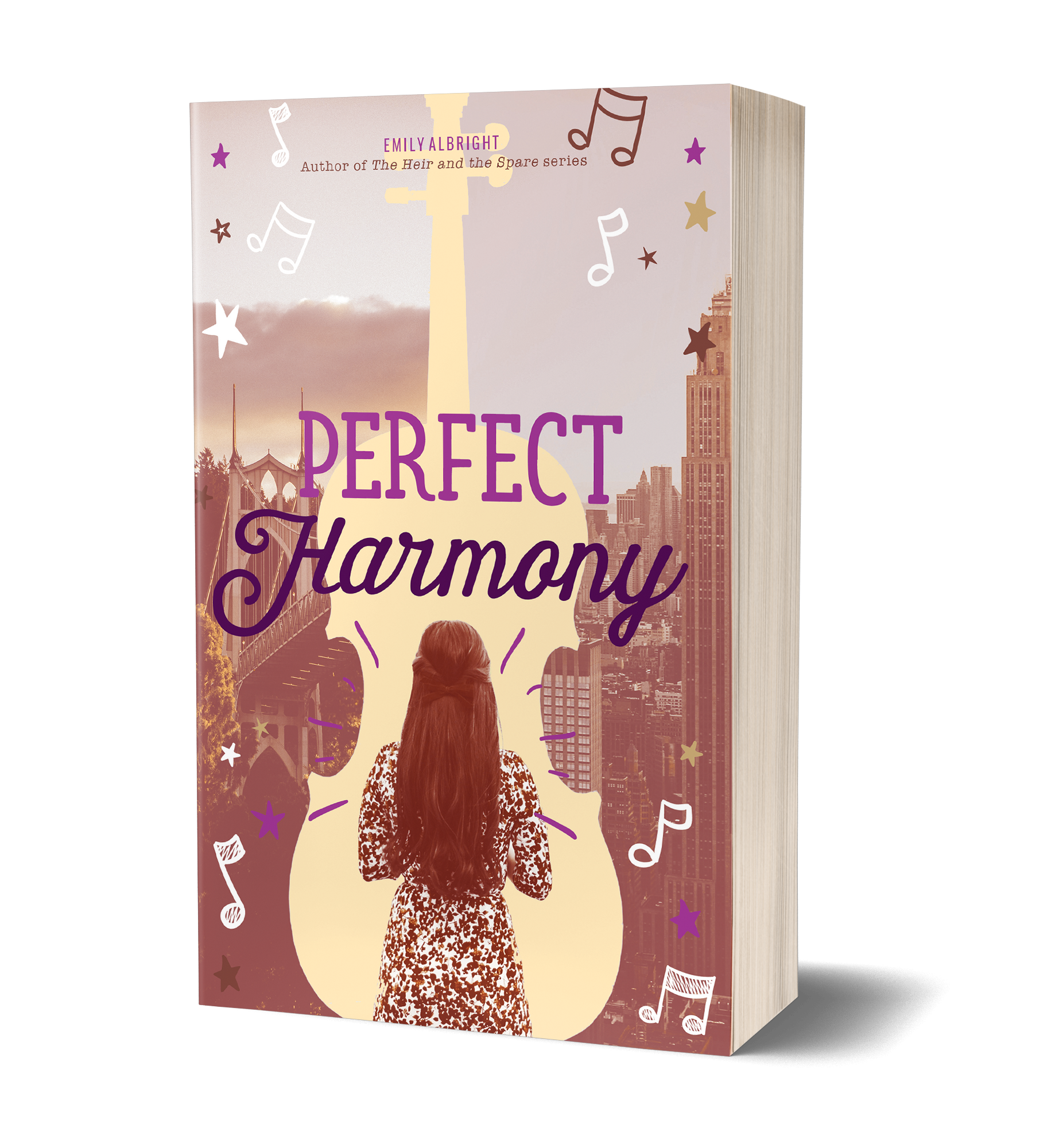 Perfect harmony book cover, back of a girl wearing a dress, long hair, standing in the silhouette of a drawn cello, with a city in the background