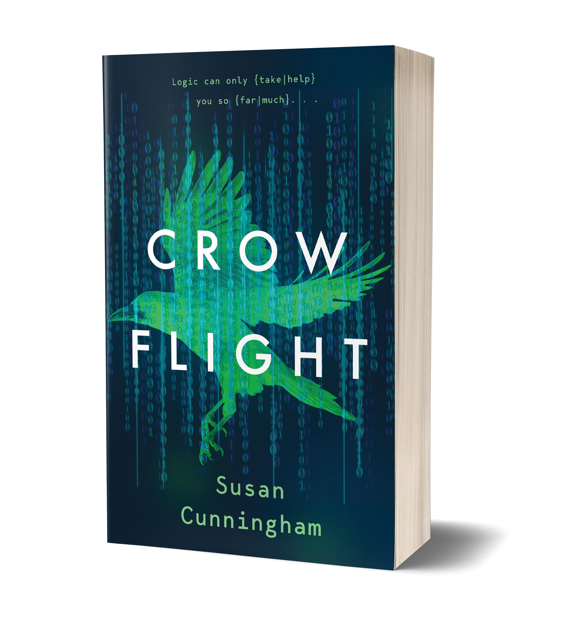 Crow flight book cover. Green Crow flying over blue background, with coding numbers in the background