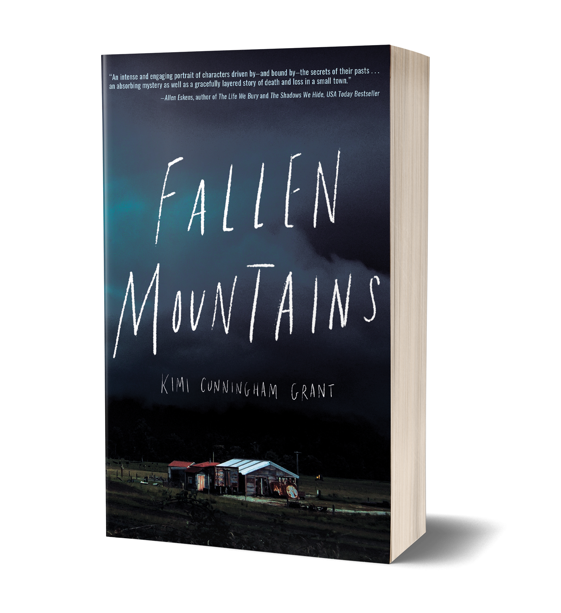 Fallen Mountains book cover, house nestled into the woods, clouds, sky, field