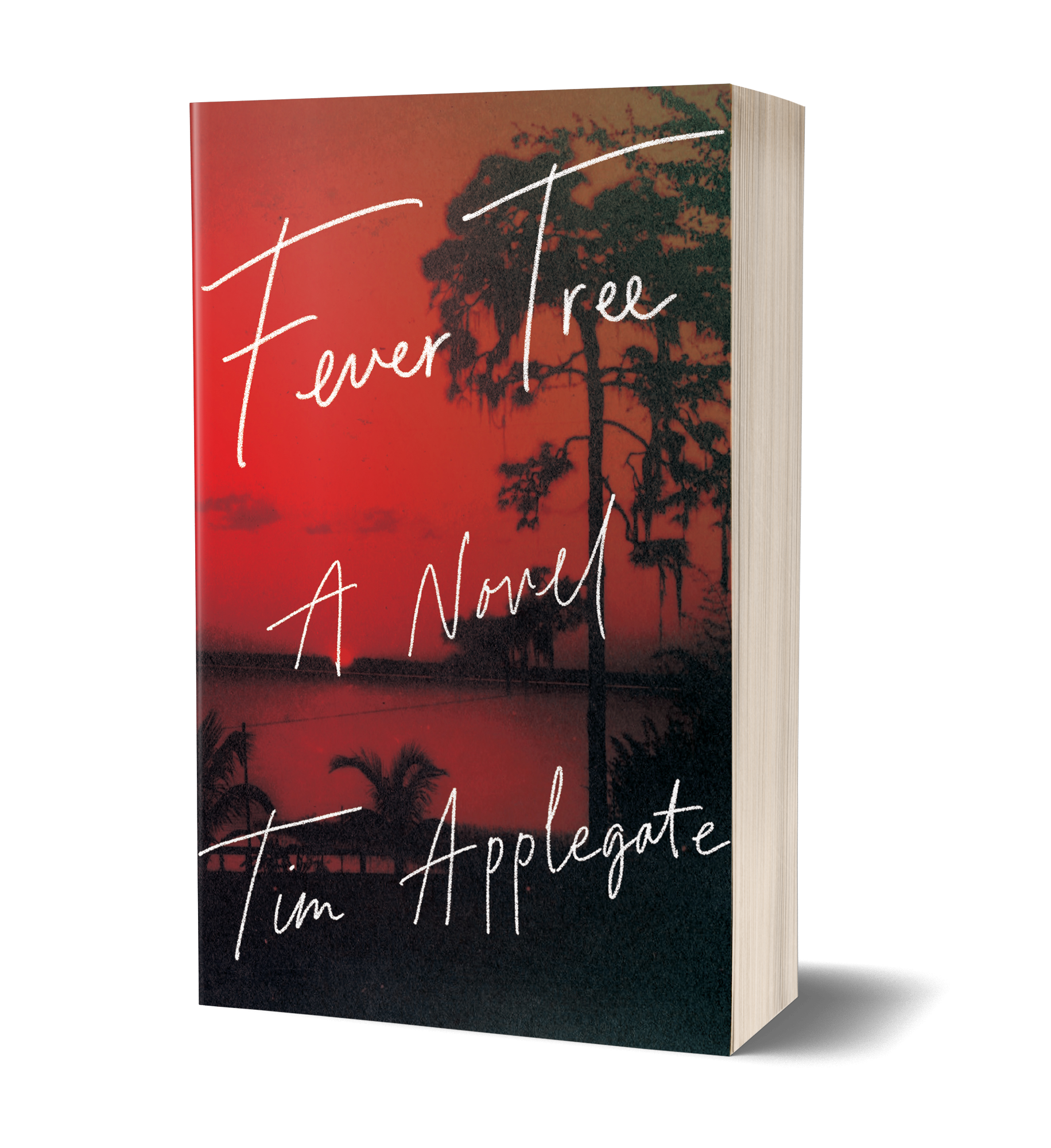 Fever Tree Book cover, red skyline, dark trees casting shadows in foreground