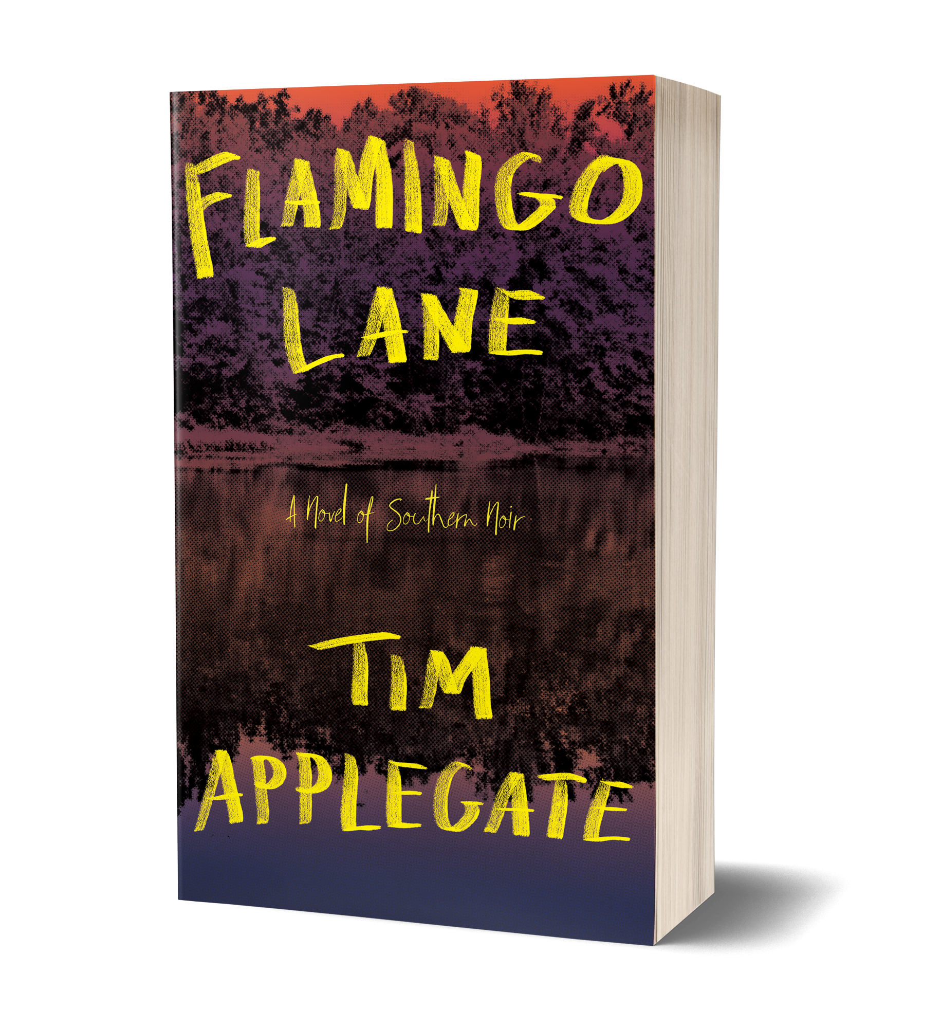 Flamingo Lane cover, Yellow writing, water, trees in background, woods