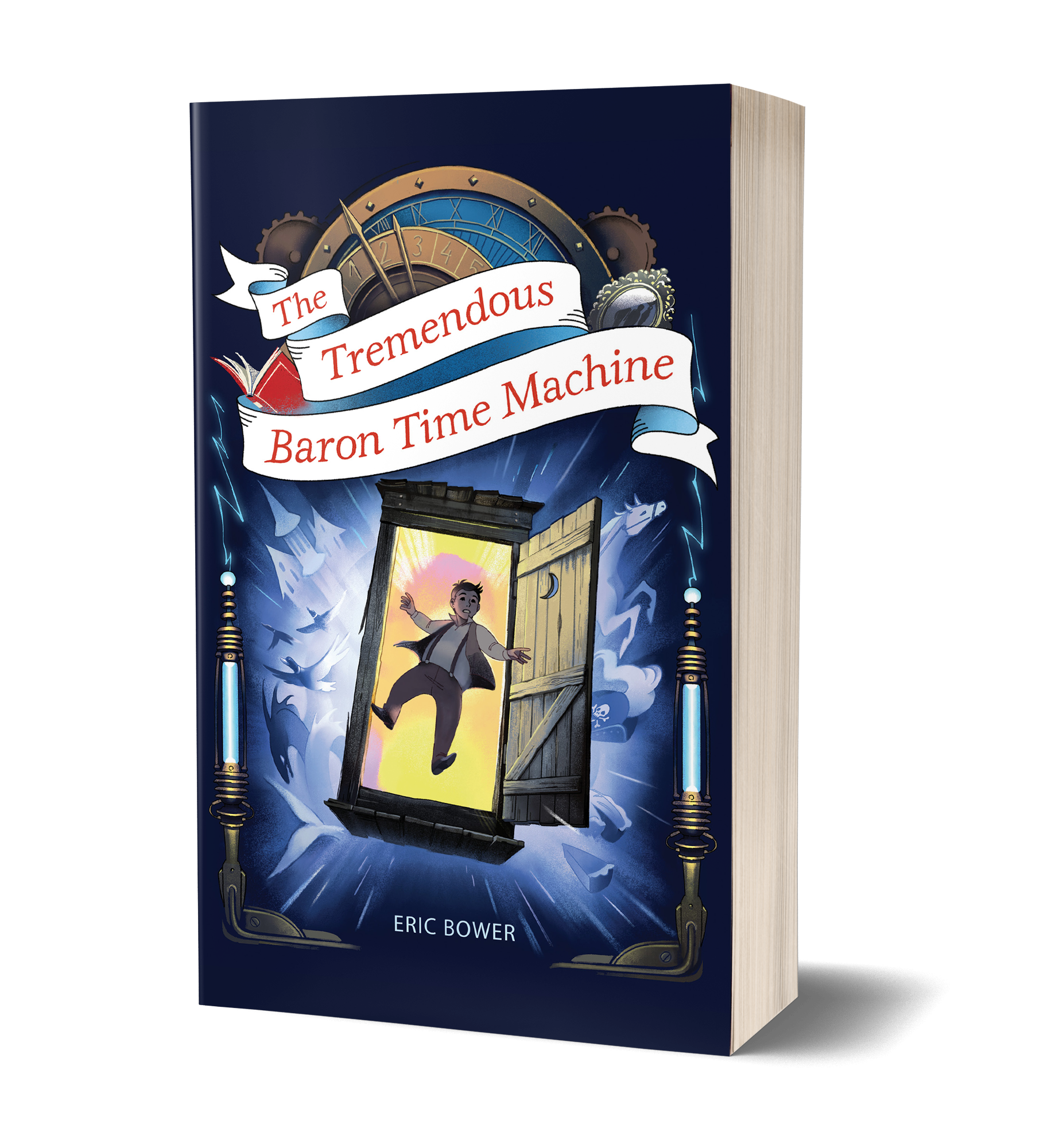 The Tremendous Baron Time Machine book cover, outhouse, door open, flying through the air